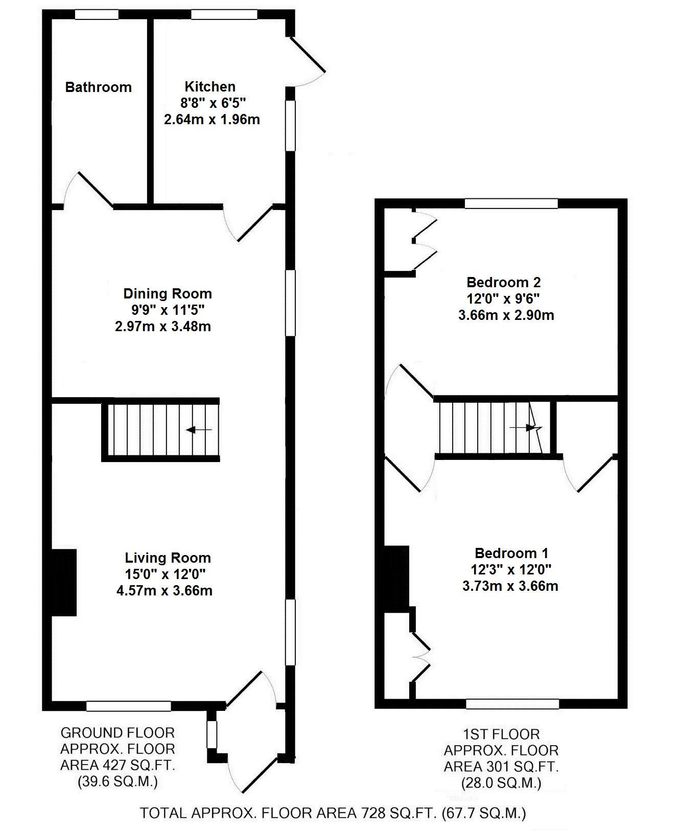 2 bedroom end terraced house To Let in Sevenoaks - Floorplan 1