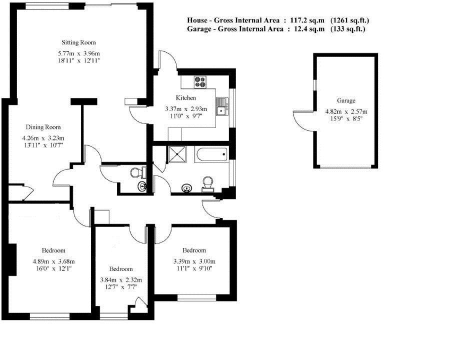 3 bedroom detached bungalow Sold in Sevenoaks - Floorplan 1