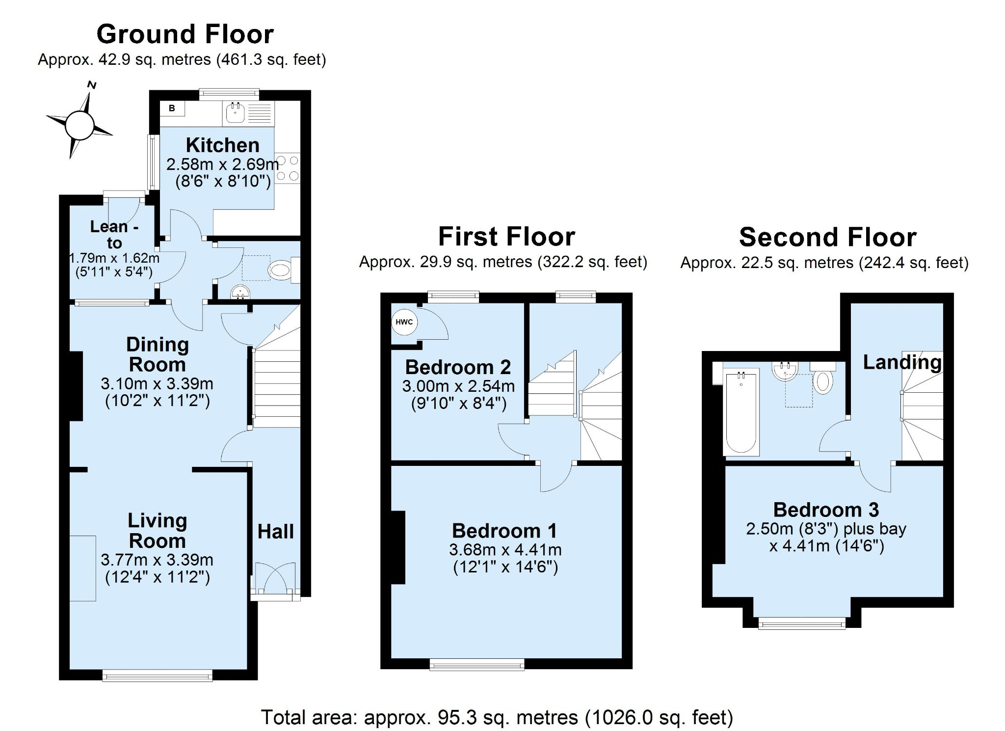 3 bedroom mid terraced house Sold in Sevenoaks - Floorplan 1