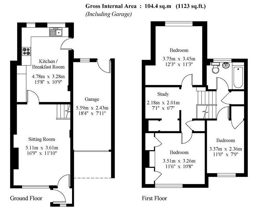 3 bedroom semi-detached house For Sale in Sevenoaks - Floorplan 1