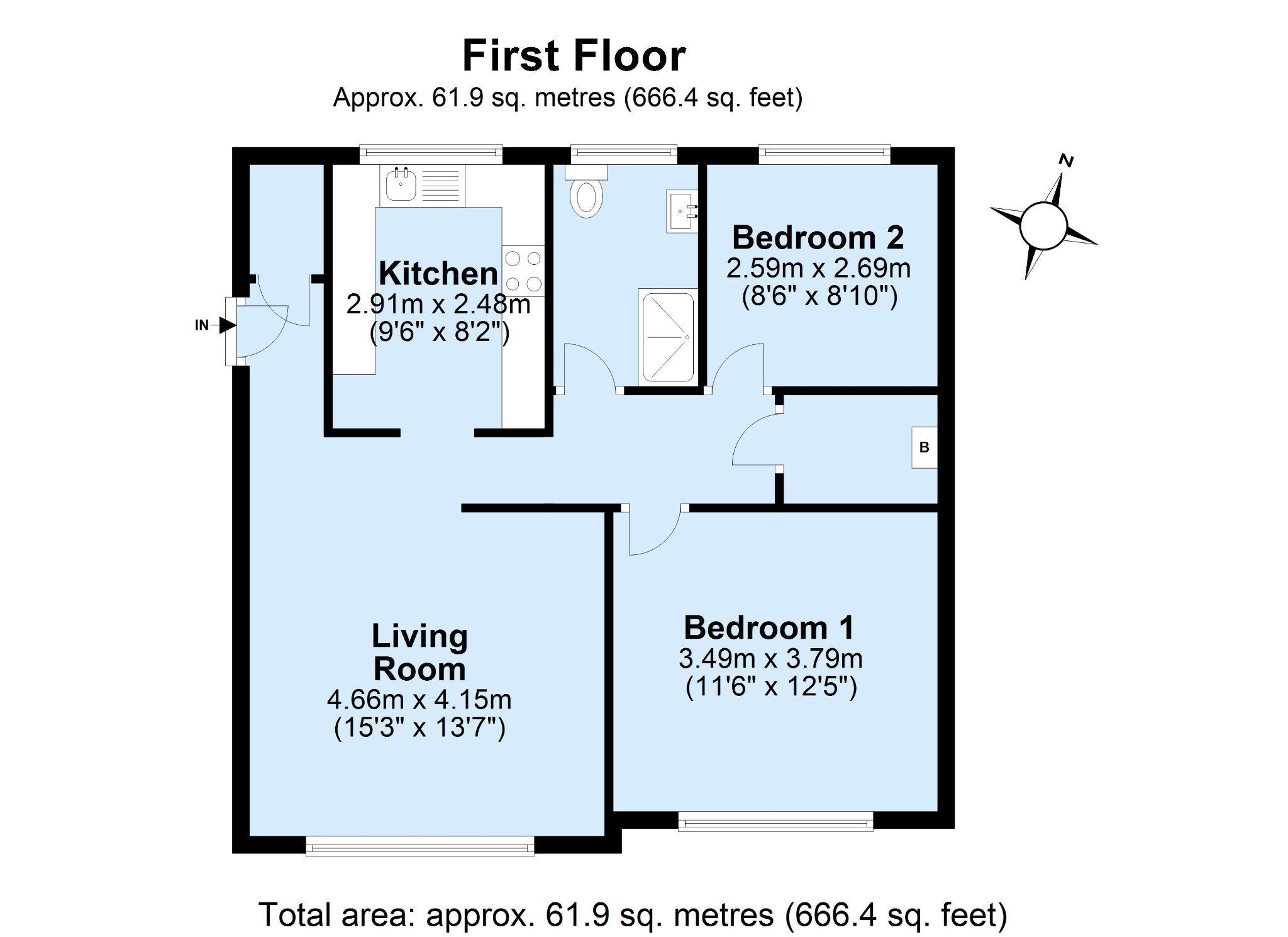 2 bedroom apartment flat/apartment Sale Agreed in Sevenoaks - Floorplan 1