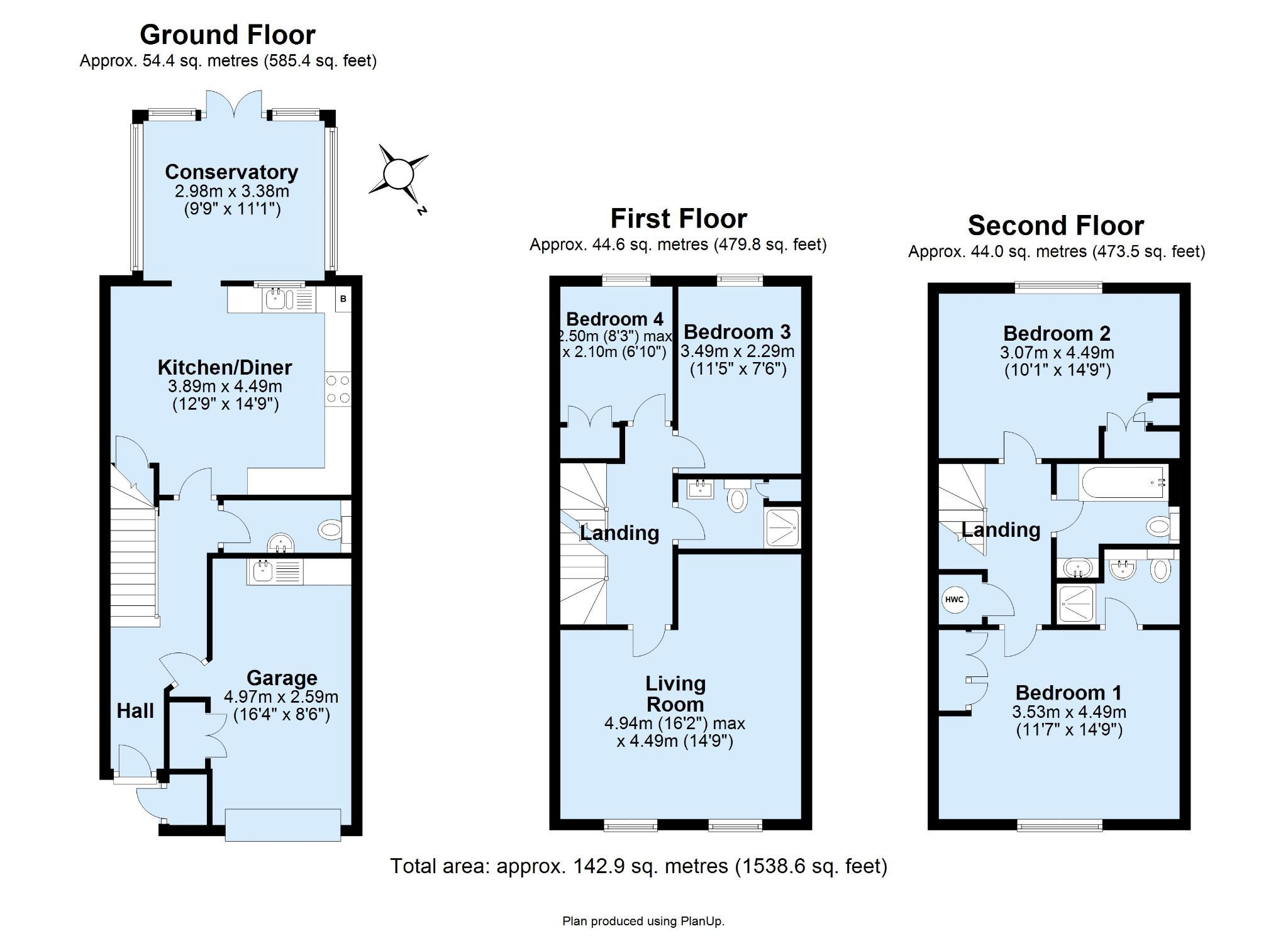 4 bedroom town house For Sale in Sevenoaks - Floorplan 1