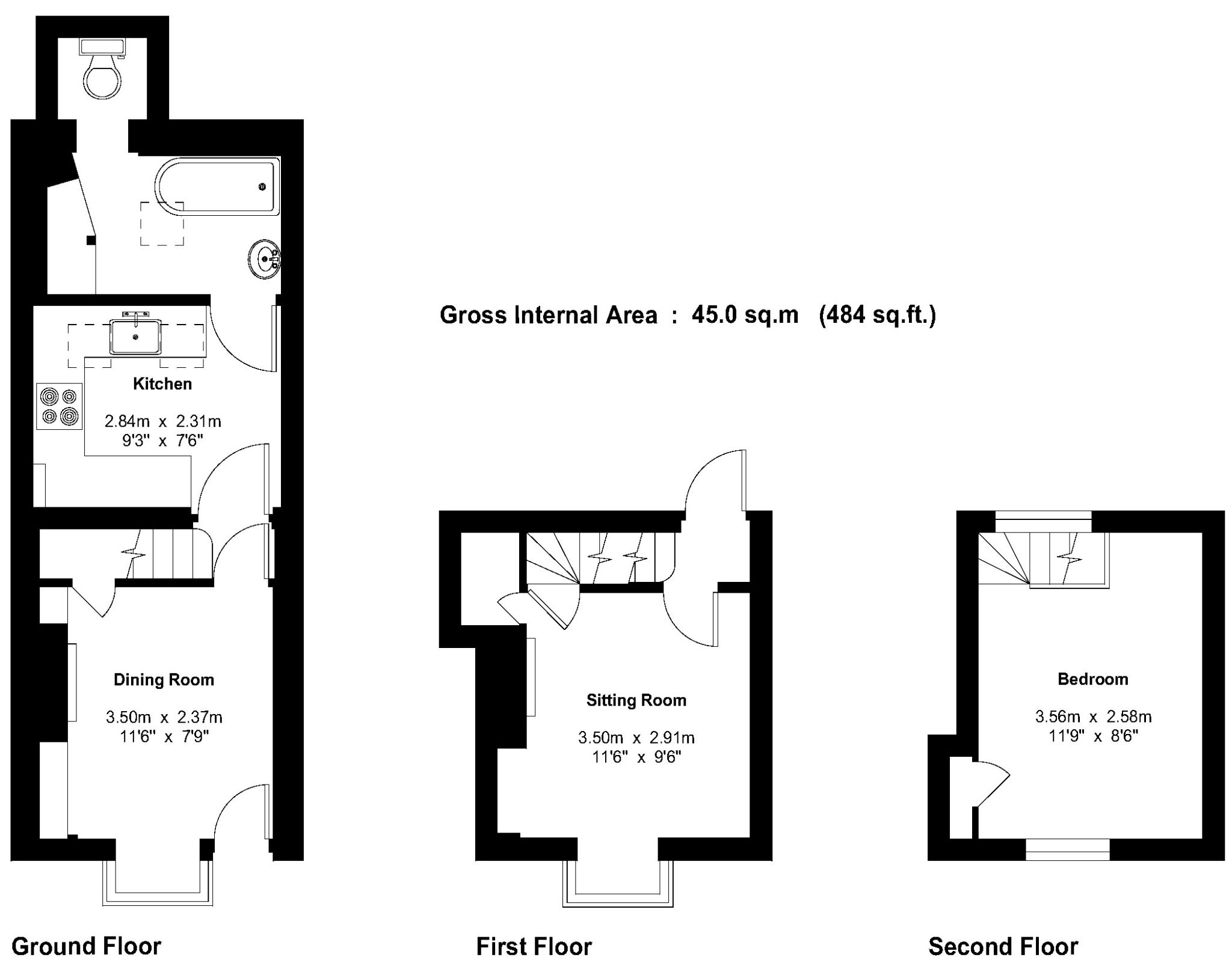 1 bedroom end terraced house Sale Agreed in Sevenoaks - Floorplan 1