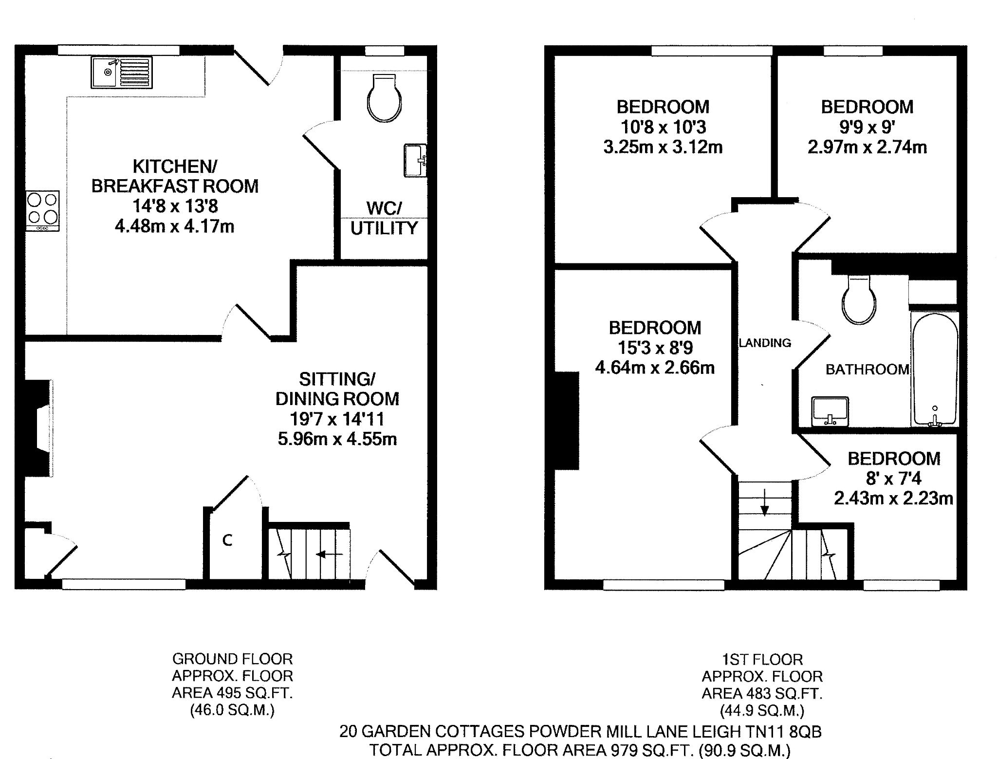 4 bedroom mid terraced house For Sale in Tonbridge - Floorplan 1