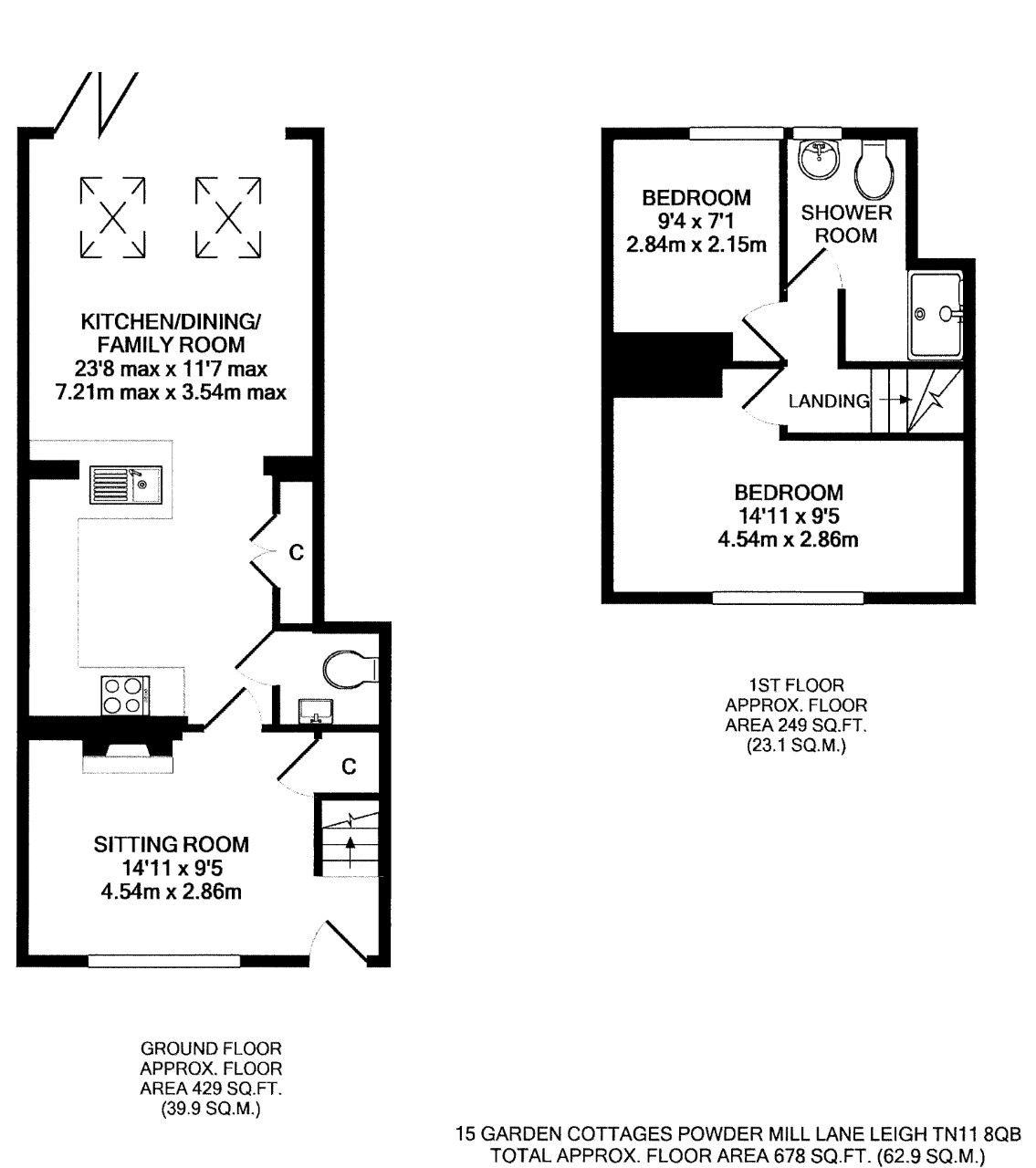 2 bedroom end terraced house For Sale in Tonbridge - Floorplan 1