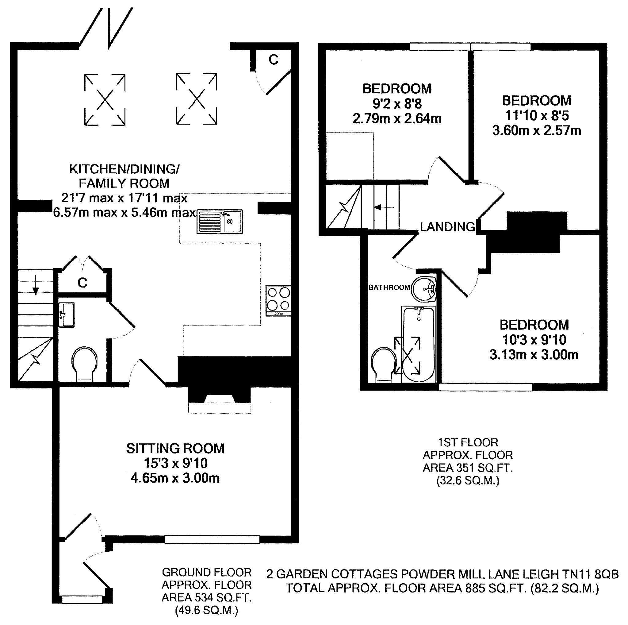 3 bedroom mid terraced house Sold in Tonbridge - Floorplan 1