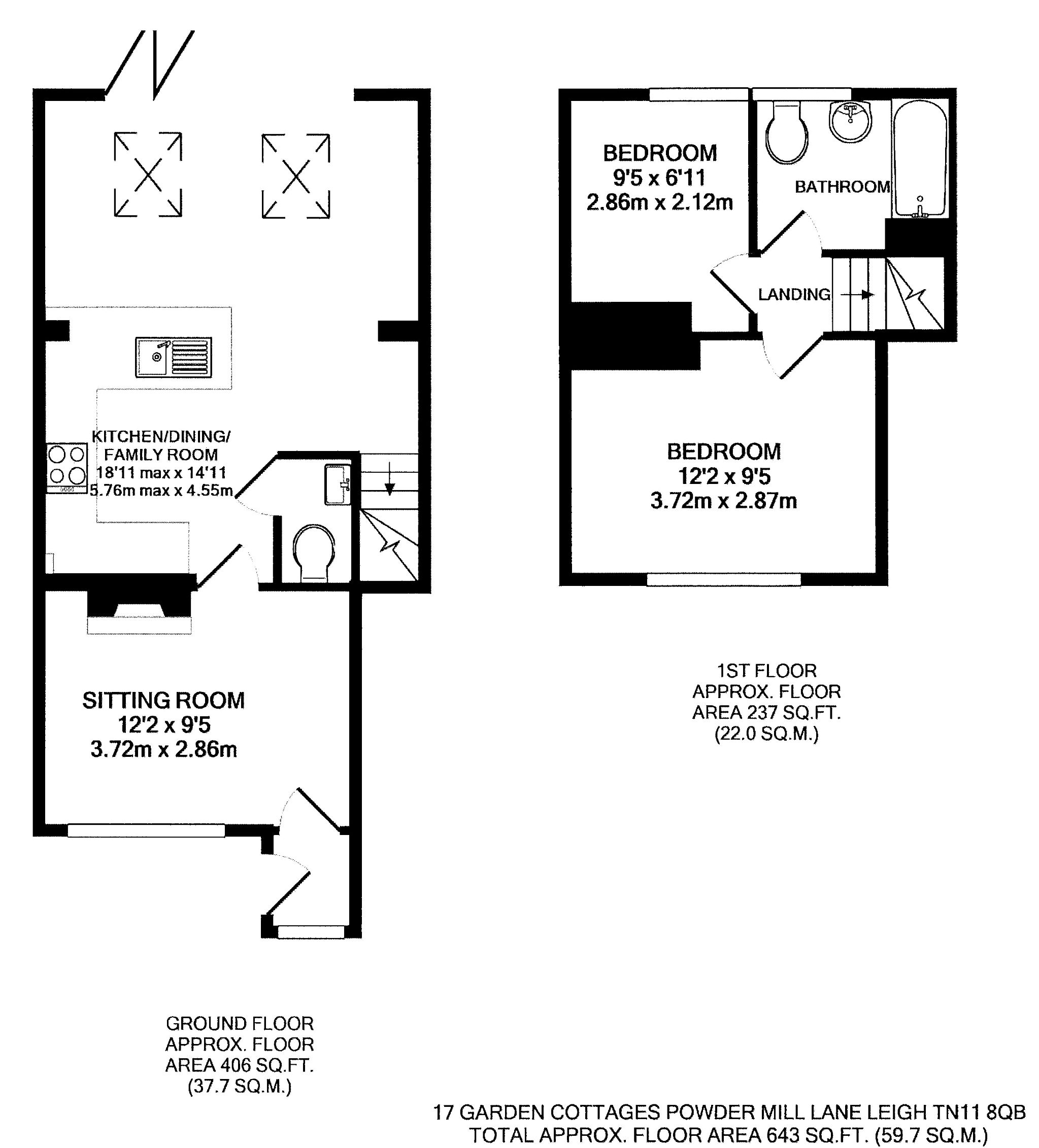 2 bedroom mid terraced house For Sale in Tonbridge - Floorplan 1