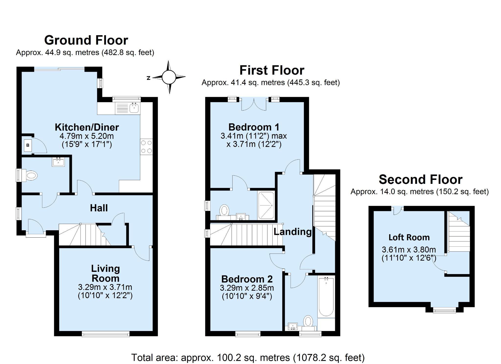 2 bedroom end terraced house Sale Agreed in Sevenoaks - Floorplan 1