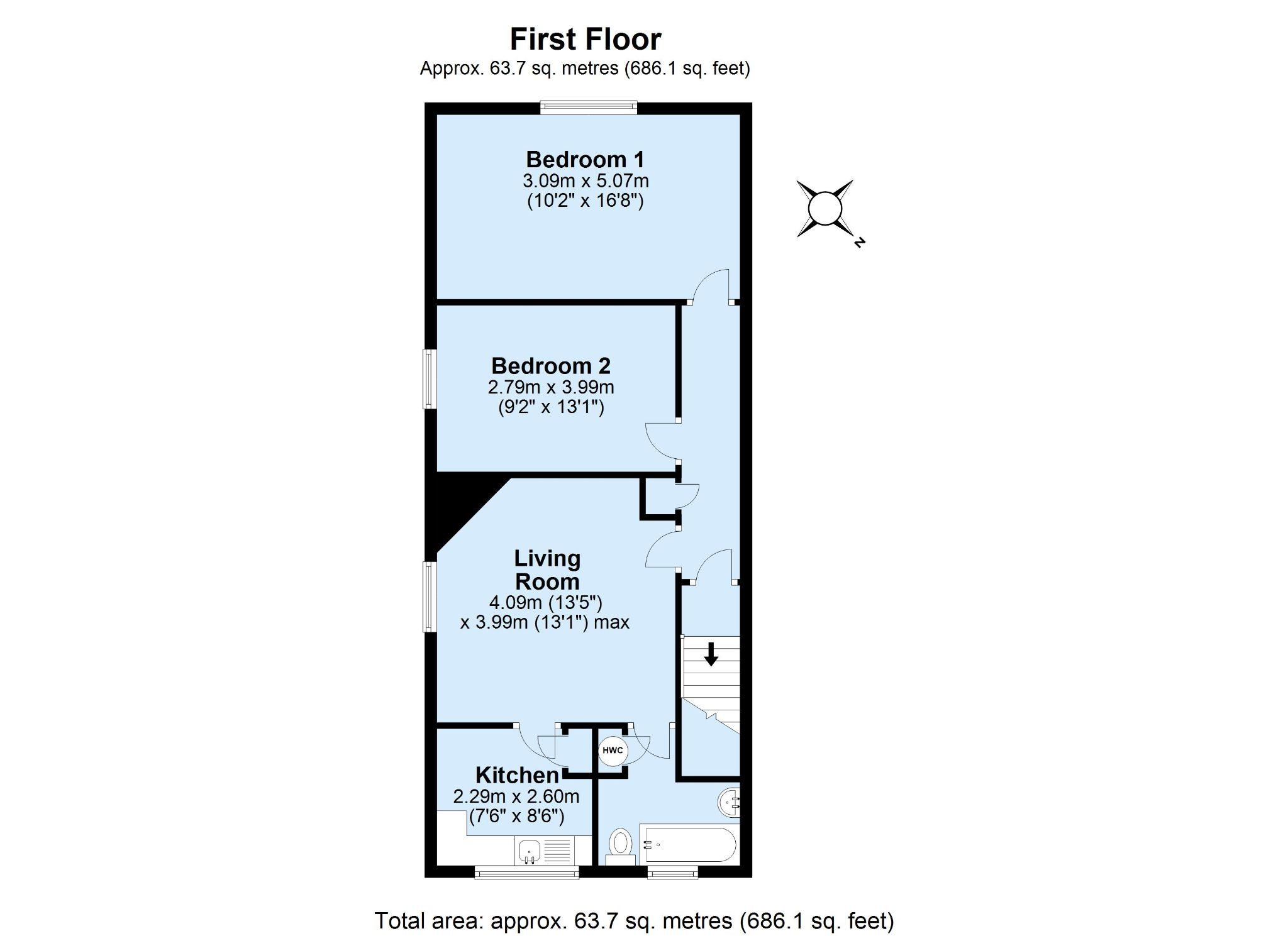 2 bedroom maisonette flat/apartment For Sale in Sevenoaks - Floorplan 1