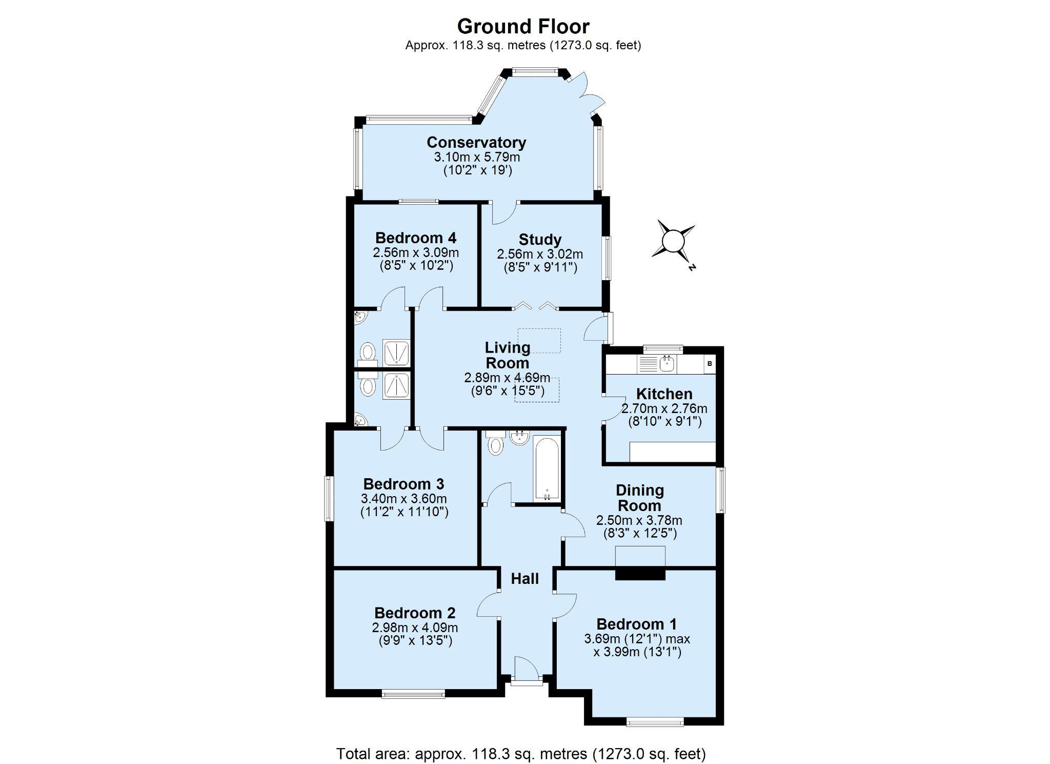 4 bedroom detached bungalow Sold in Sevenoaks - Floorplan 1