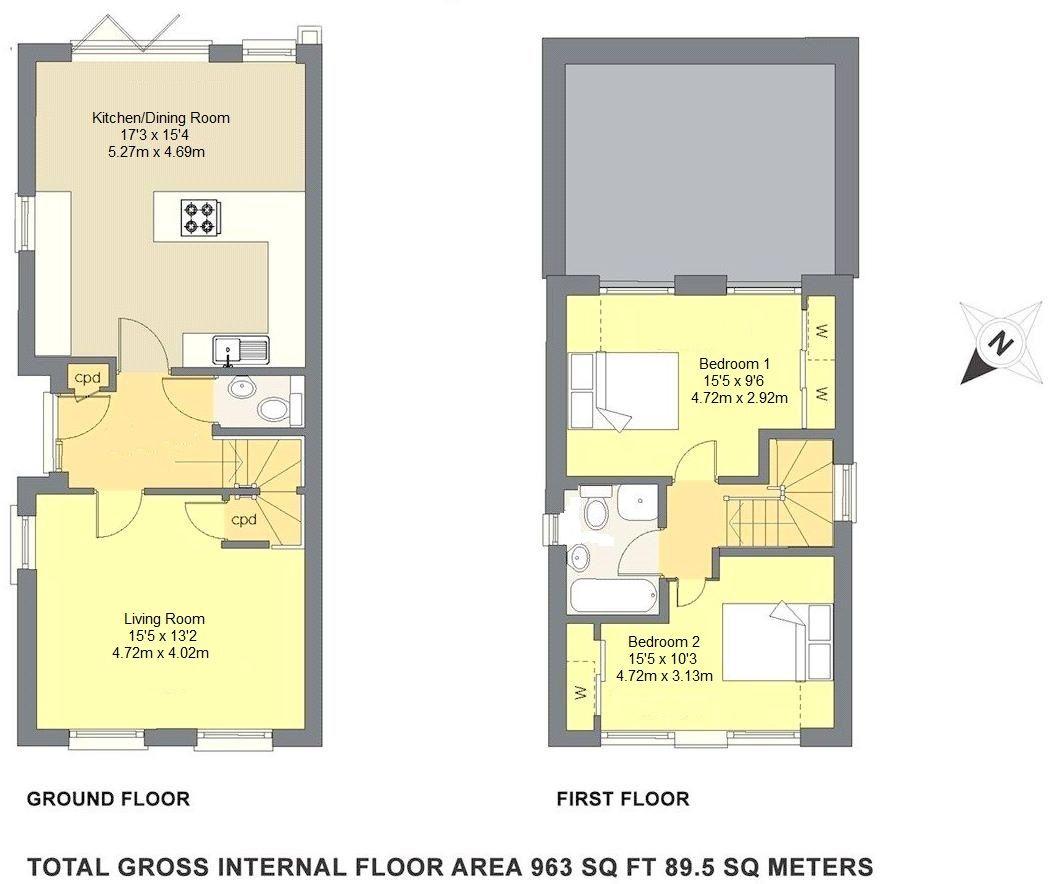 2 bedroom detached house Sale Agreed in Sevenoaks - Floorplan 1