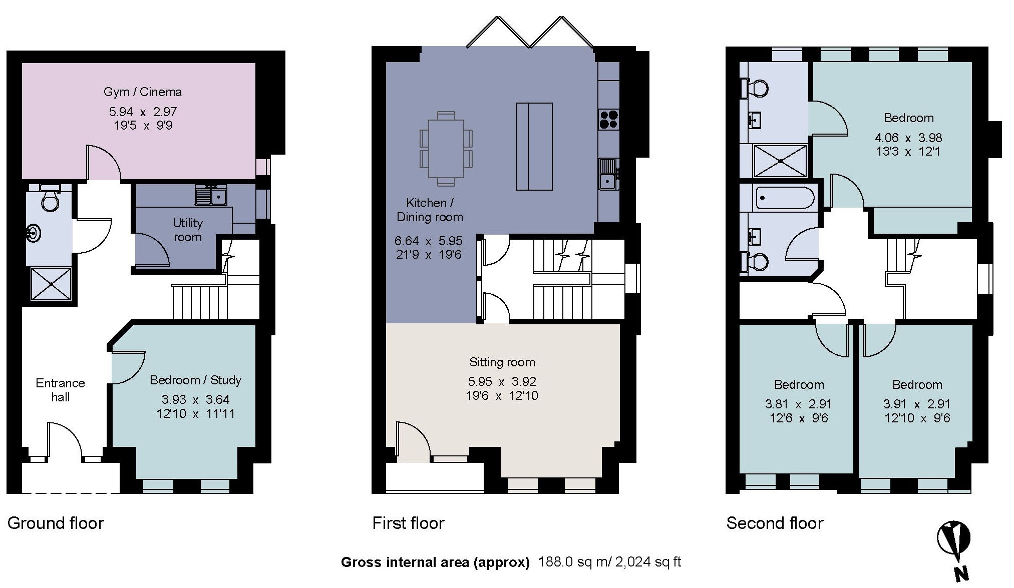 4 bedroom semi-detached house For Sale in Sevenoaks - Floorplan 1
