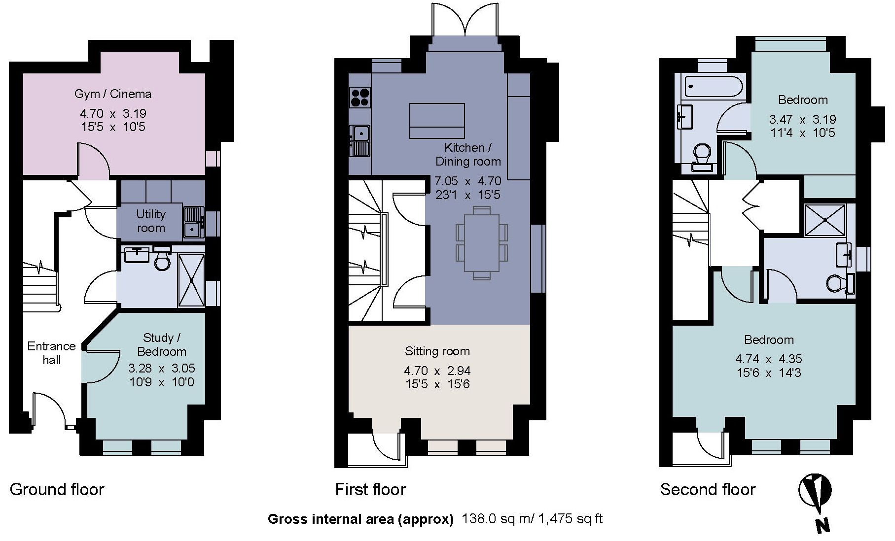 3 bedroom end terraced house Sale Agreed in Sevenoaks - Floorplan 1