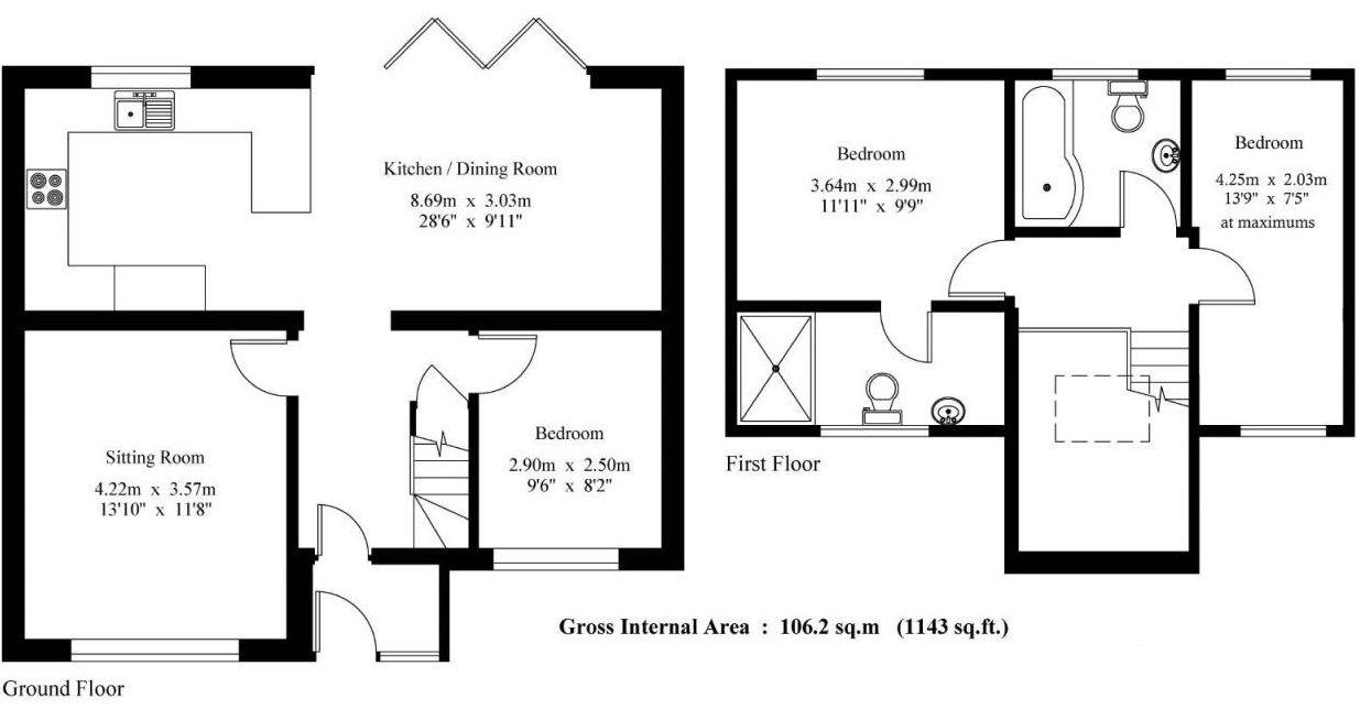 3 bedroom chalet house For Sale in Sevenoaks - Floorplan 1