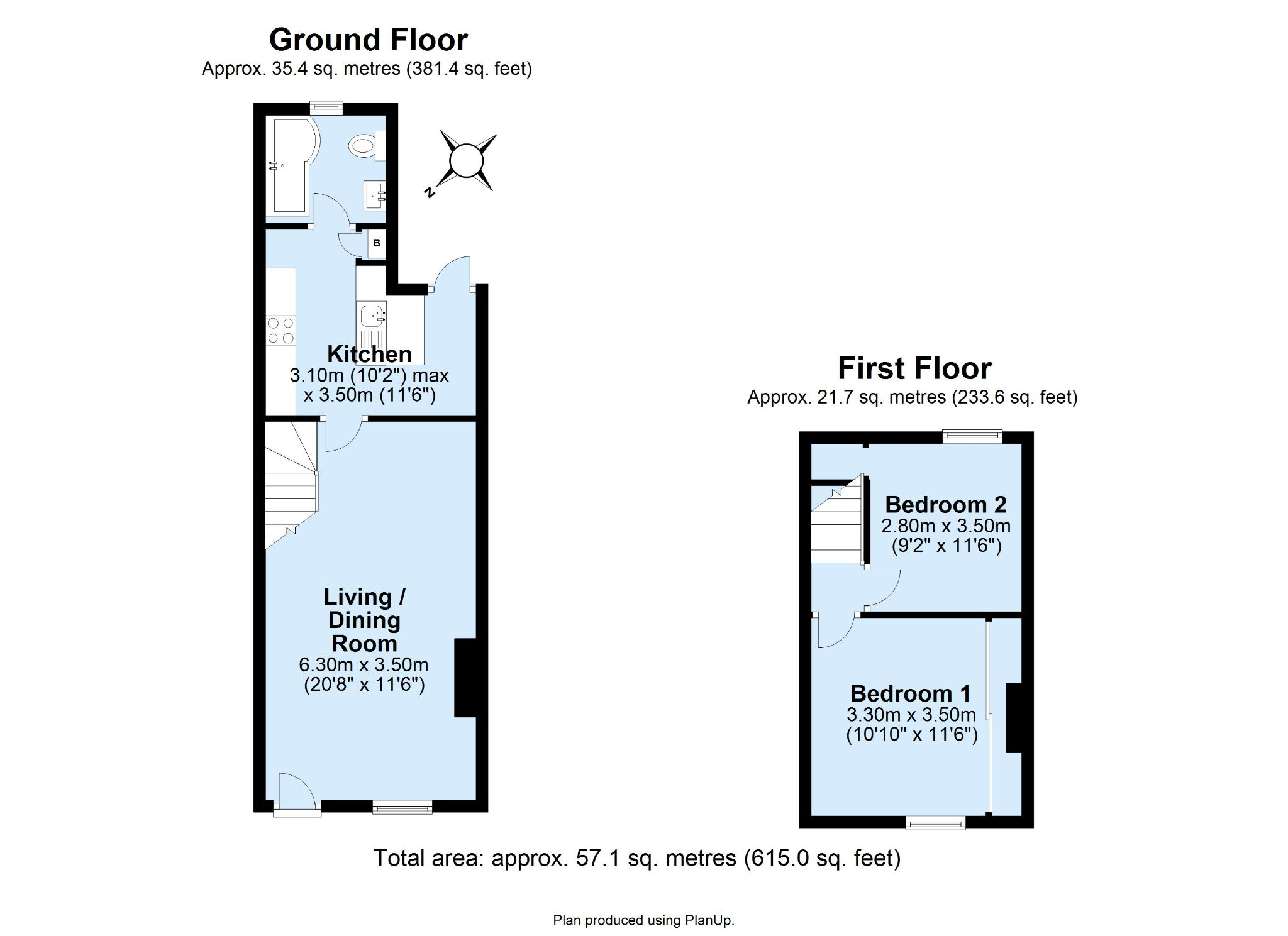 2 bedroom mid terraced house For Sale in Sevenoaks - Floorplan 1