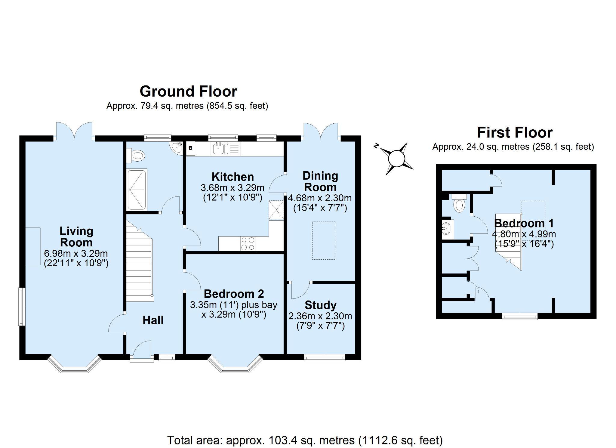 2 bedroom detached bungalow For Sale in Badgers Mount - Floorplan 1