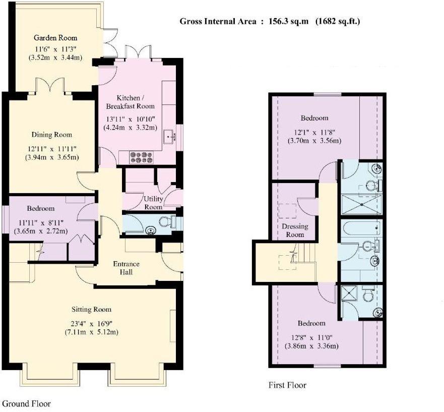 3 bedroom detached house Sold in Sevenoaks - Floorplan 1