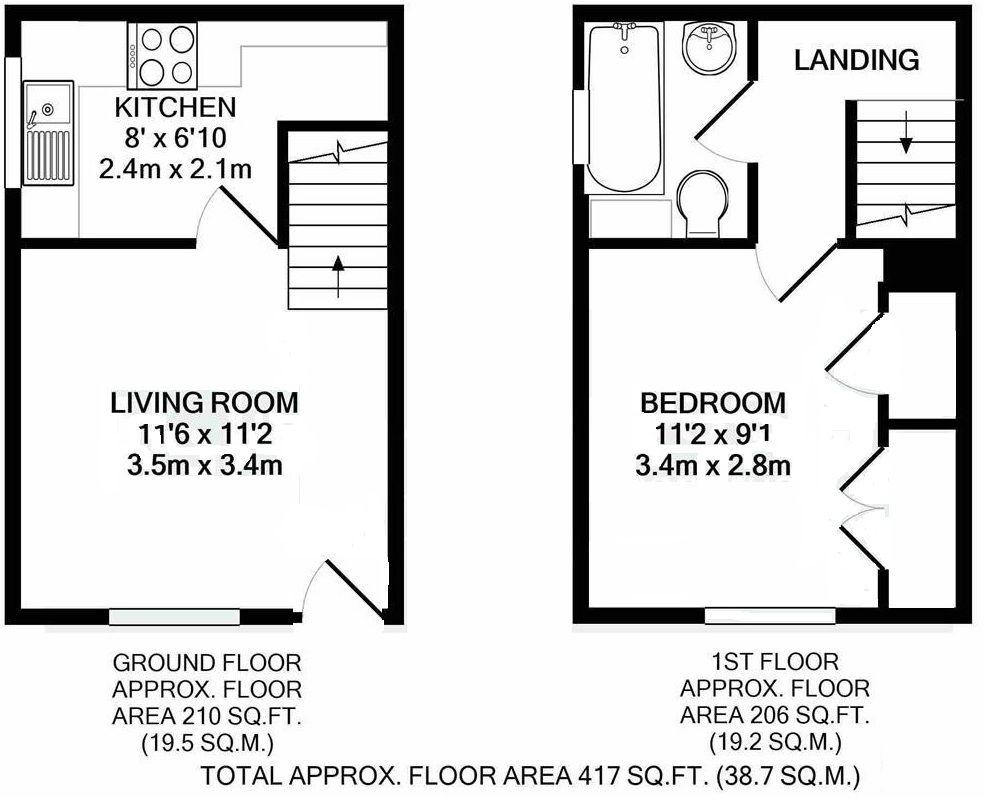 1 bedroom flat Sold in Sevenoaks - Floorplan 1