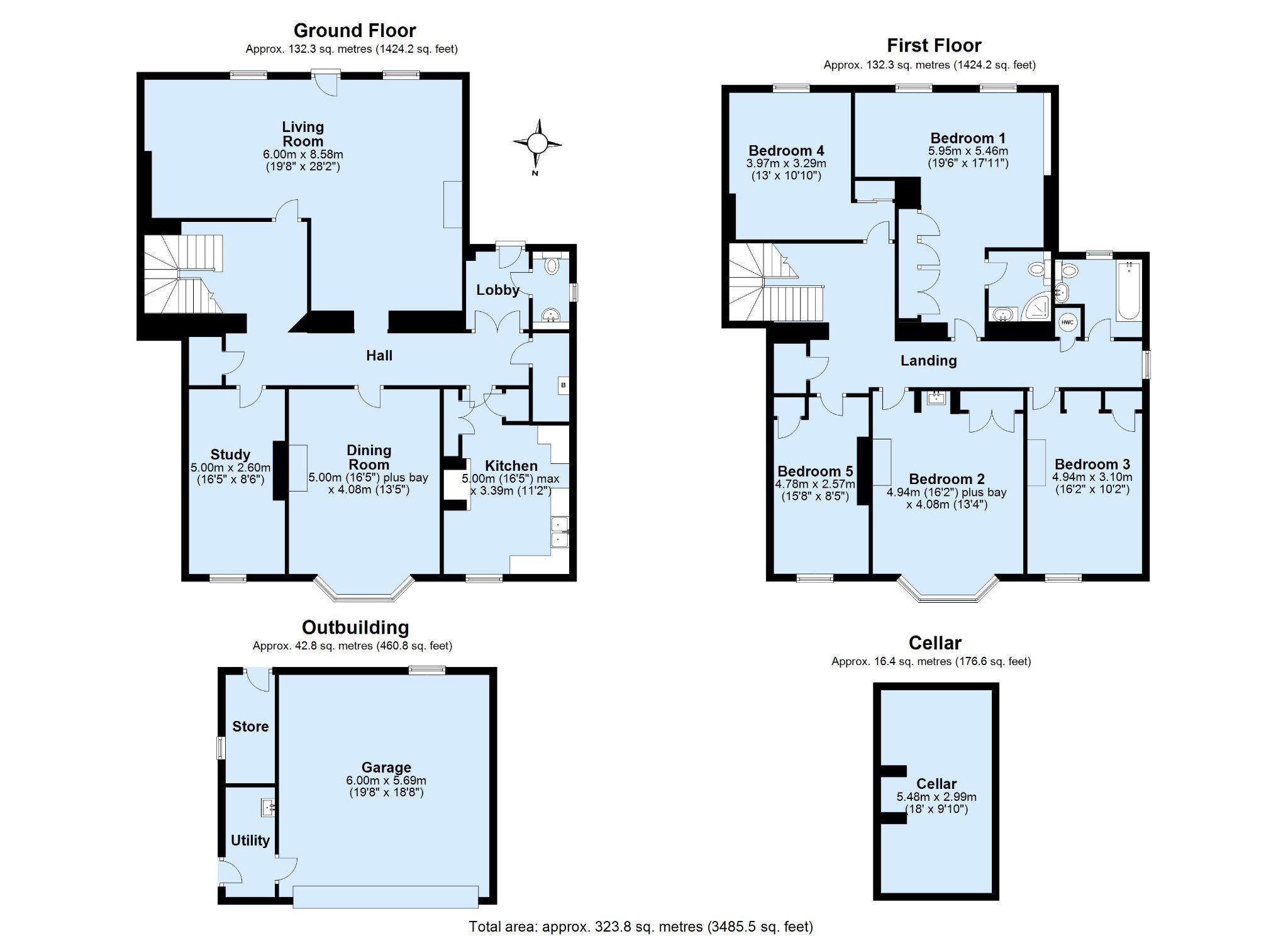 5 bedroom semi-detached house Sold in Sundridge - Floorplan 1