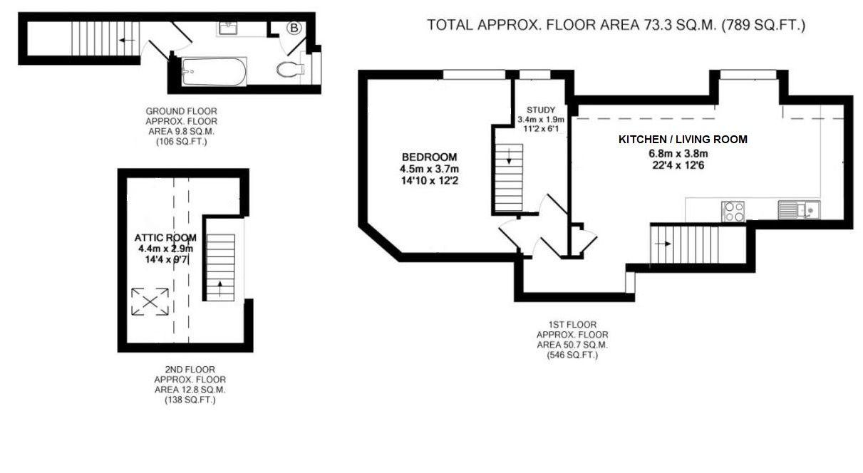 2 bedroom flat Sold in Sevenoaks - Floorplan 1