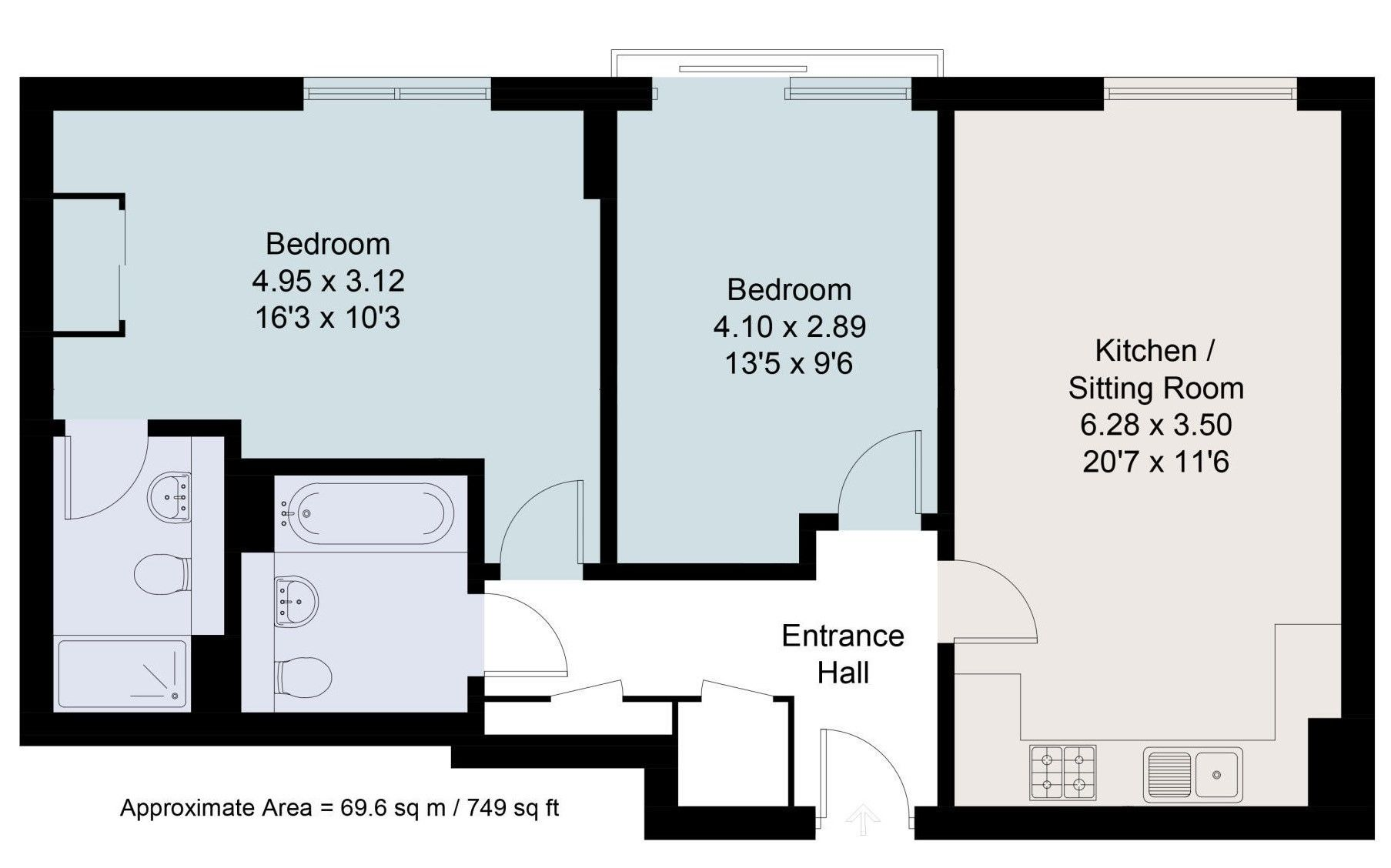 2 bedroom apartment For Sale in Sevenoaks - Floorplan 1