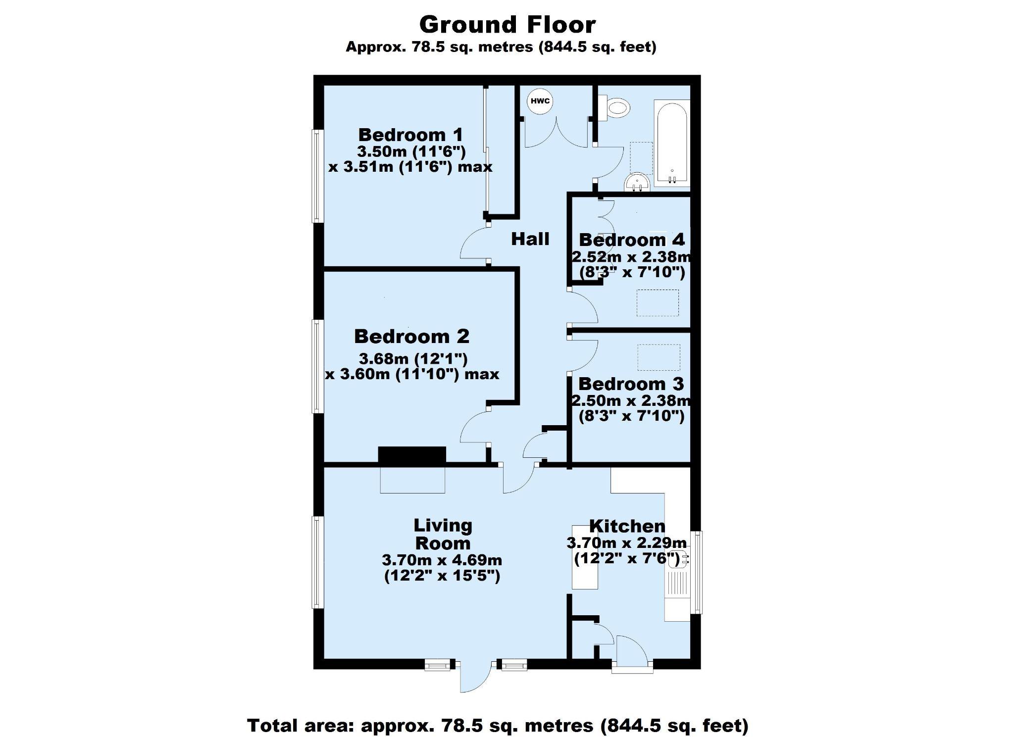 4 bedroom semi-detached bungalow Sale Agreed in Sevenoaks - Floorplan 1