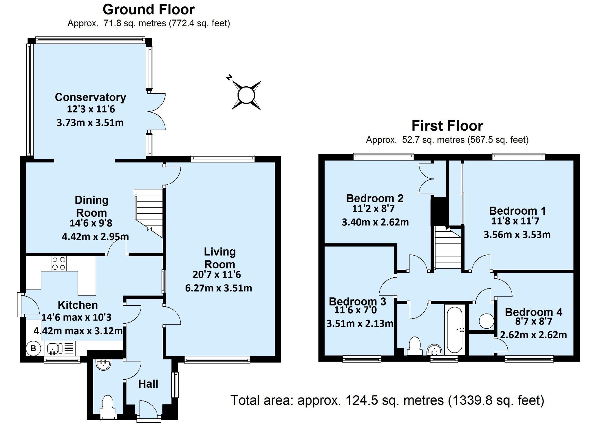 4 bedroom detached house For Sale in Sevenoaks - Floorplan 1