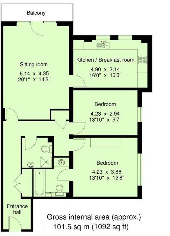 2 bedroom ground floor For Sale in Sevenoaks - Floorplan 1