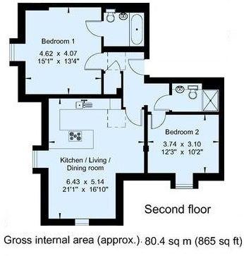 2 bedroom apartment Sale Agreed in Sevenoaks - Floorplan 1