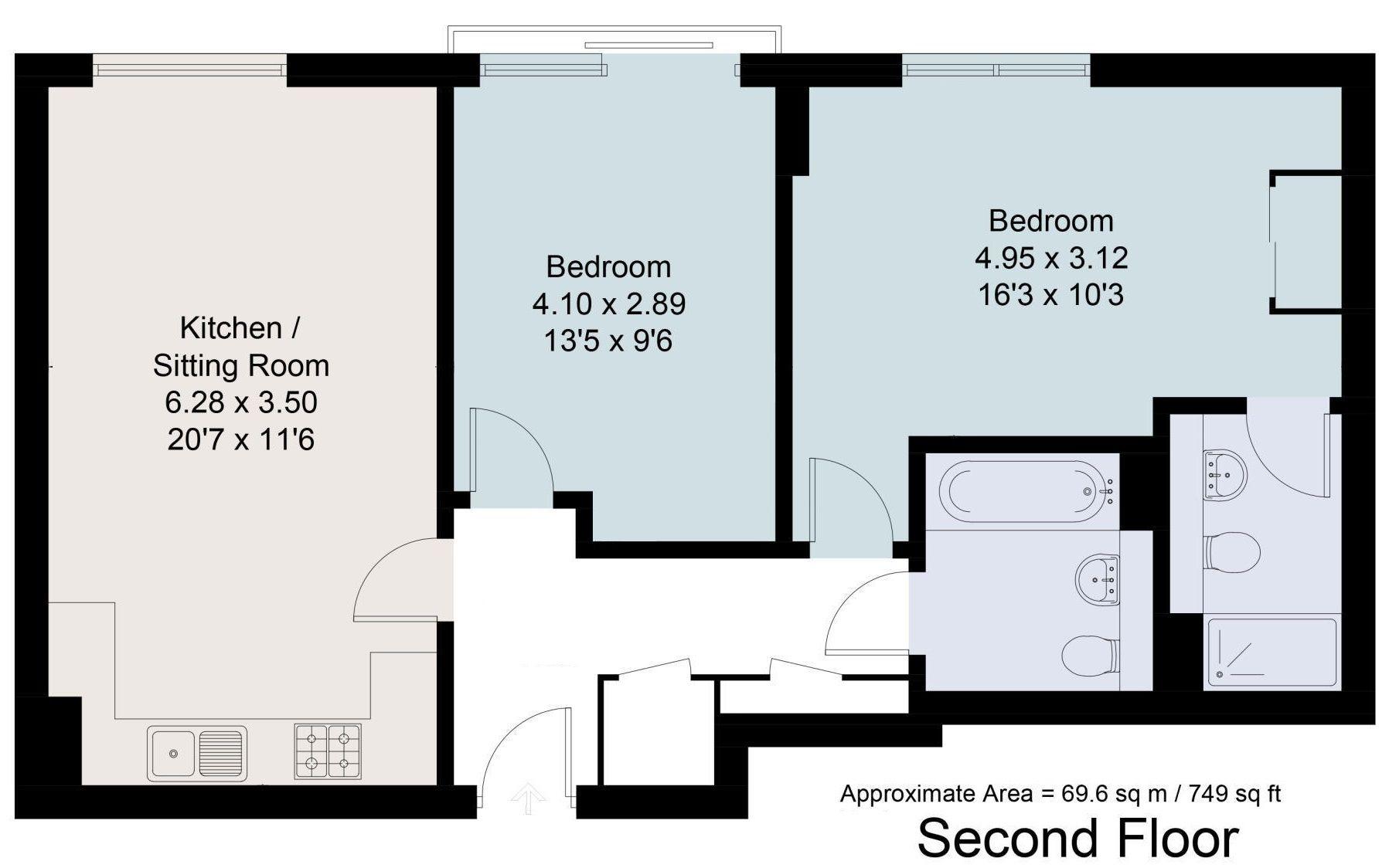 2 bedroom apartment For Sale in Sevenoaks - Floorplan 1