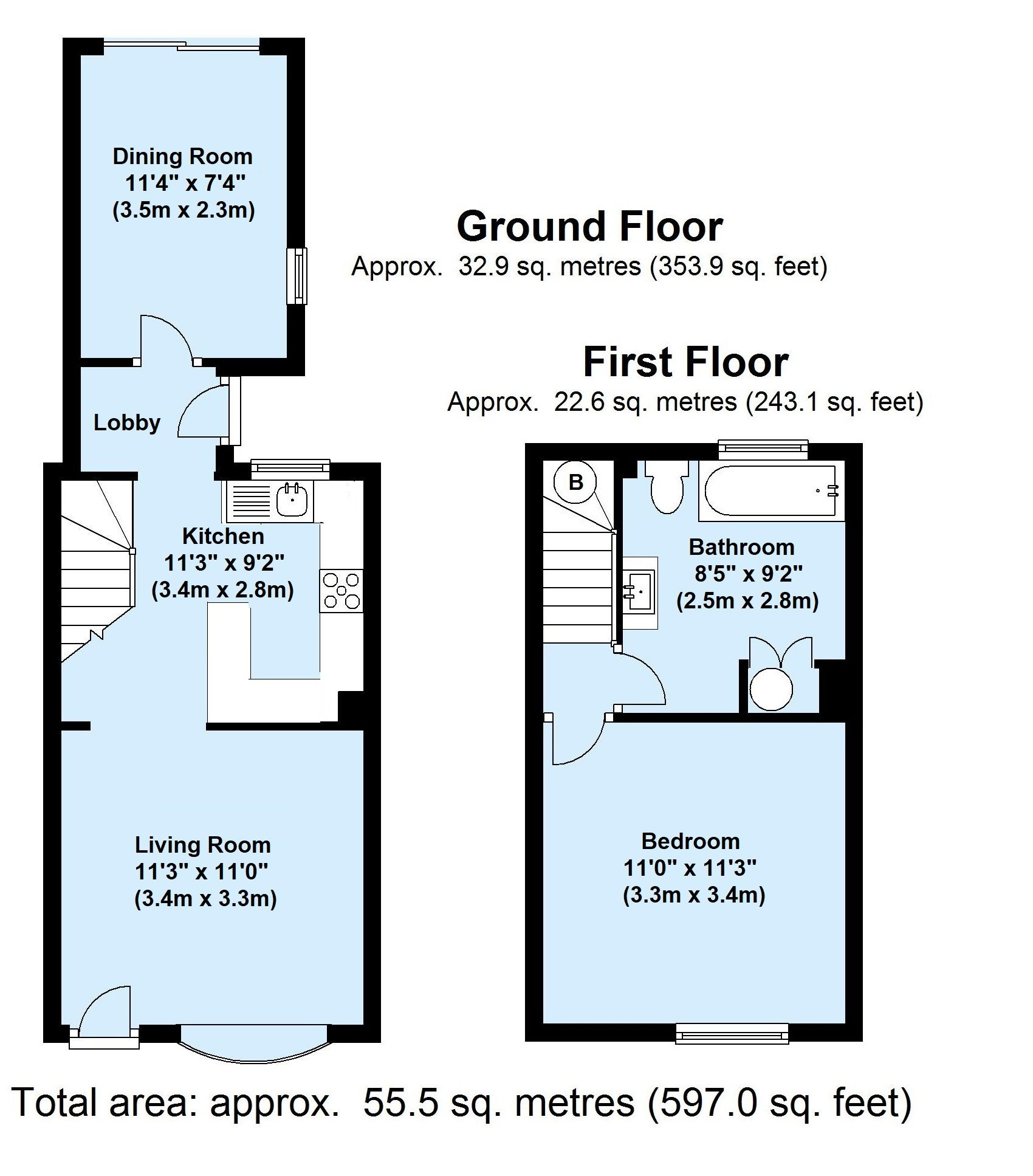 1 bedroom mid terraced house Sold in Sevenoaks - Floorplan 1