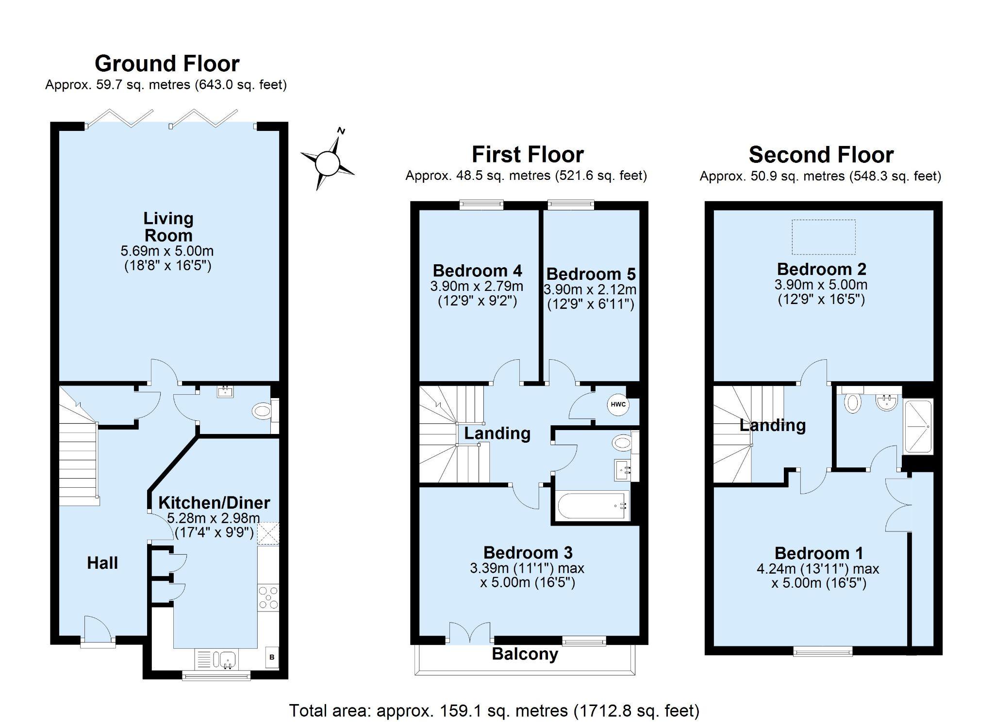 5 bedroom semi-detached house For Sale in Tonbridge - Floorplan 1