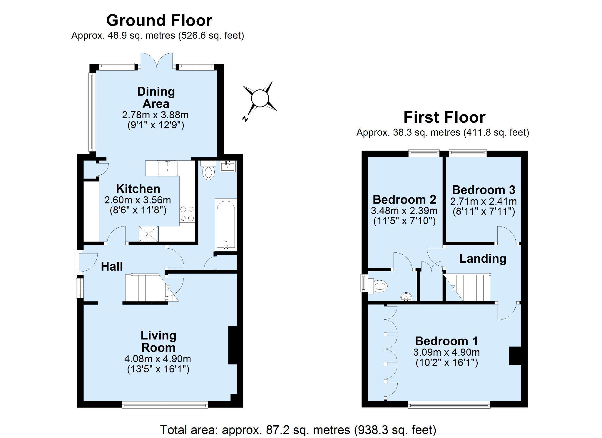 3 bedroom semi-detached house Sale Agreed in Sevenoaks - Floorplan 1