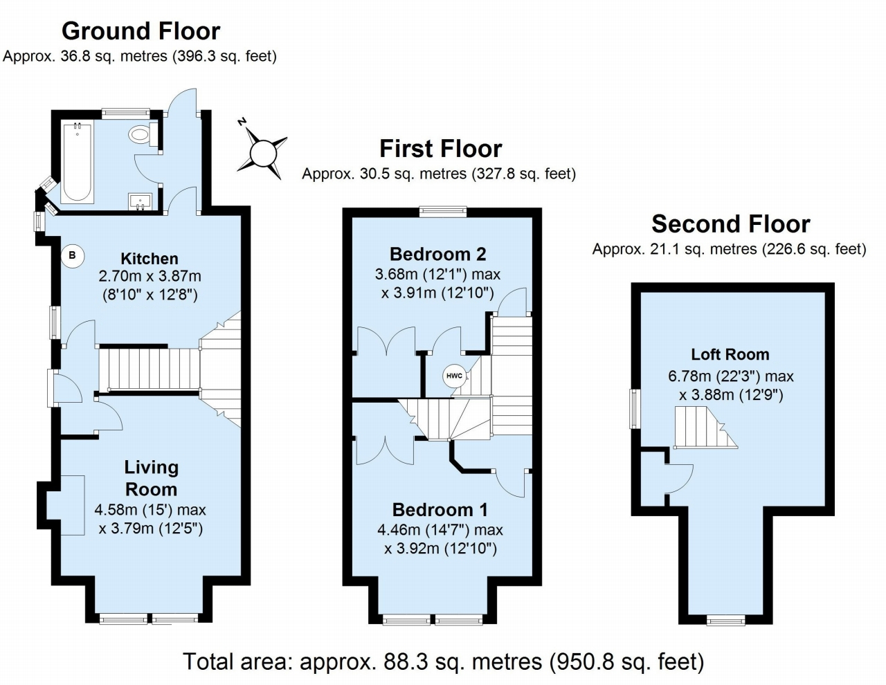 2 bedroom semi-detached house Sold in Sevenoaks - Floorplan 1