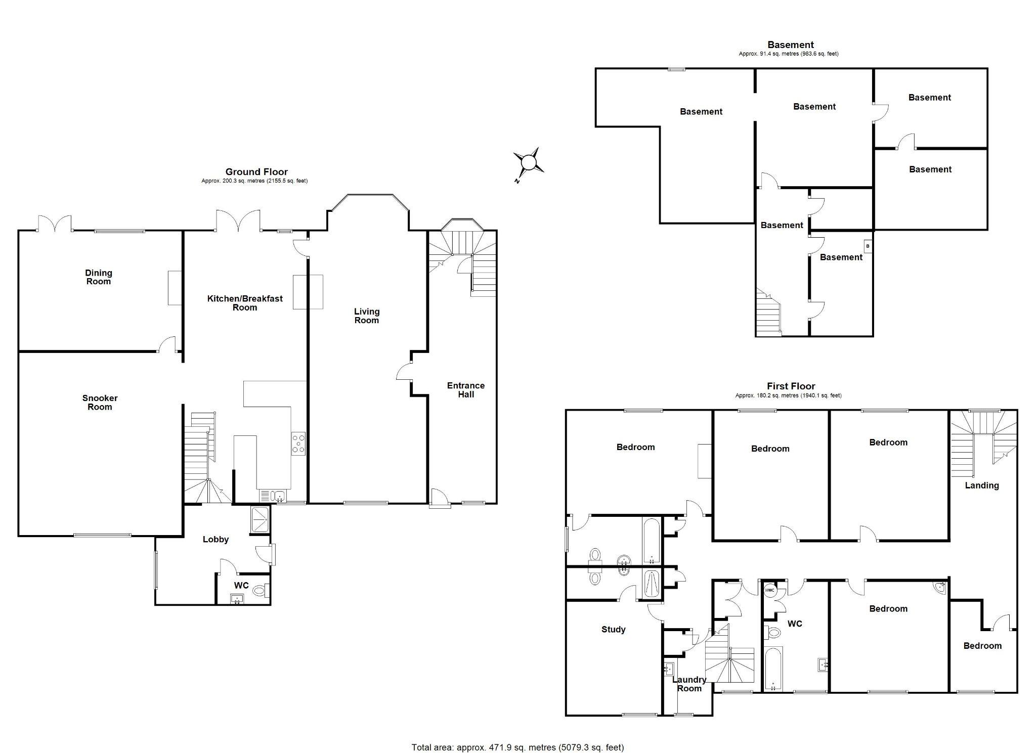 6 bedroom mews house For Sale in Brookmans Park - Floorplan 1