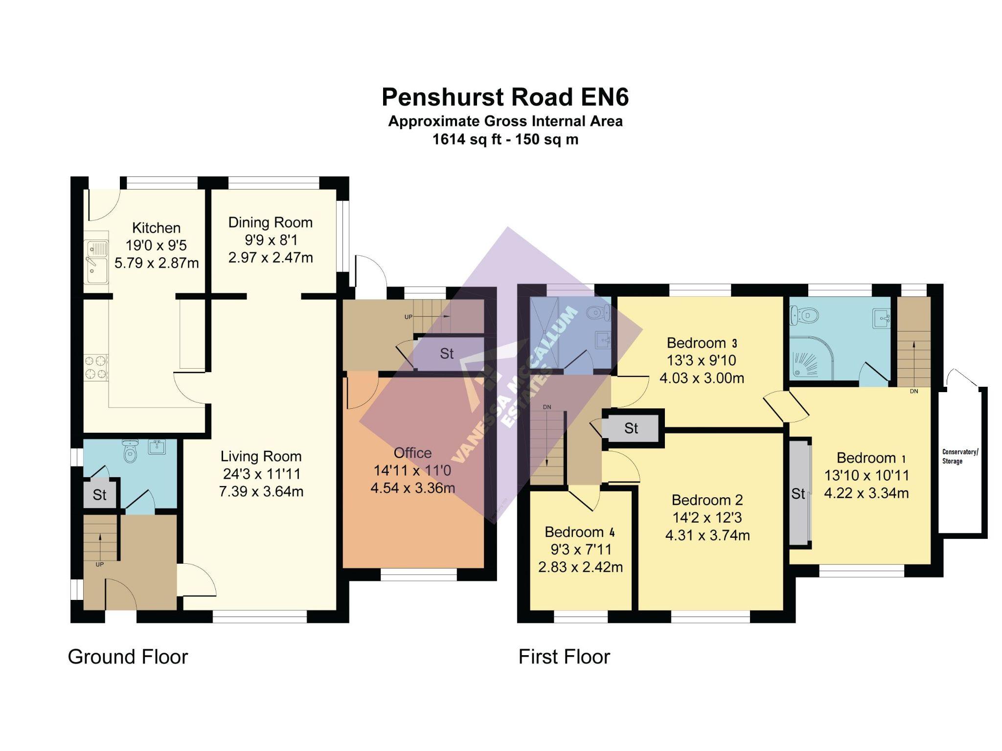 4 bedroom detached house For Sale in Potters Bar - Floorplan 1