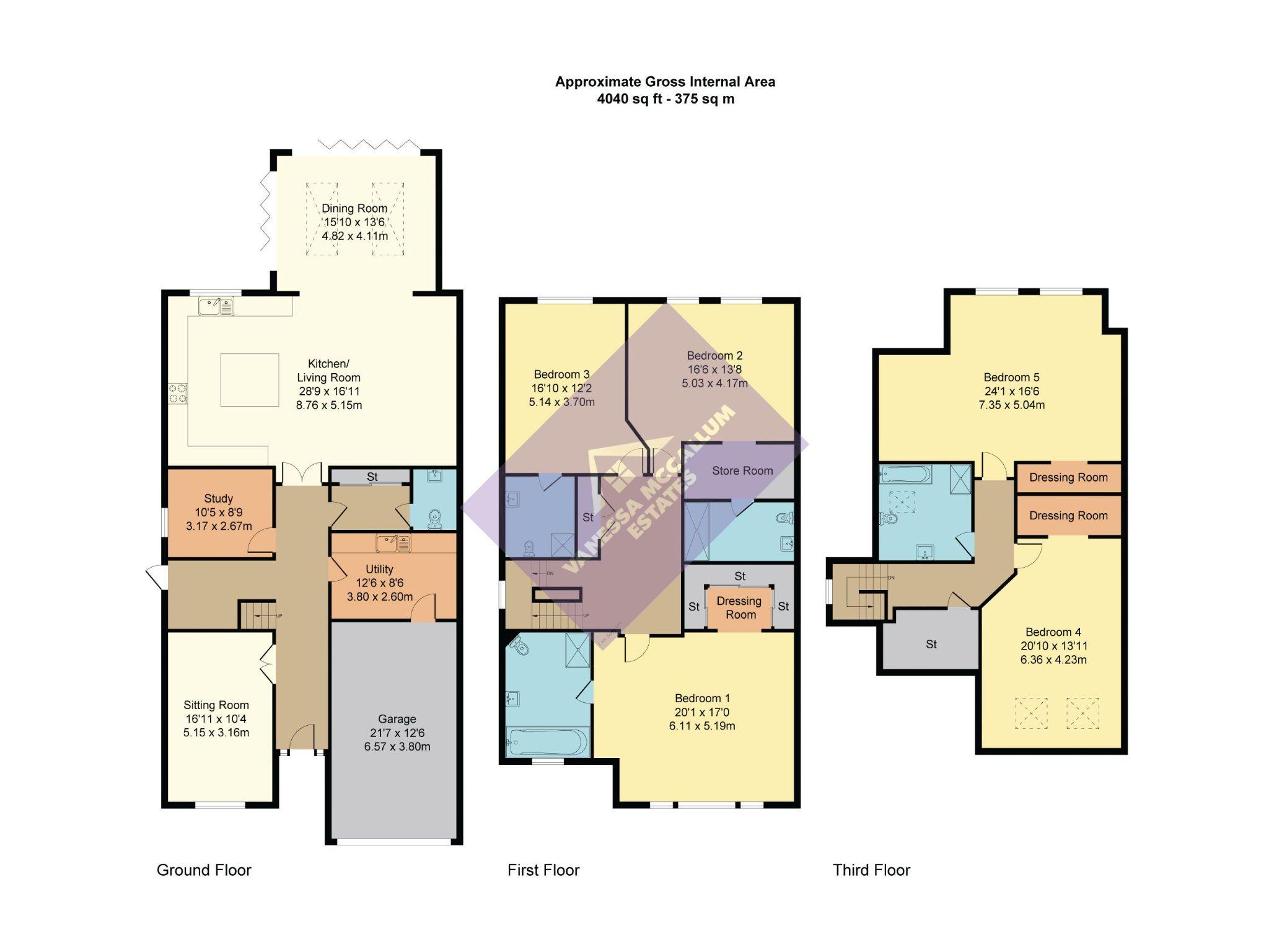 5 bedroom semi-detached house Sale Agreed in Brookmans Park - Floorplan 1