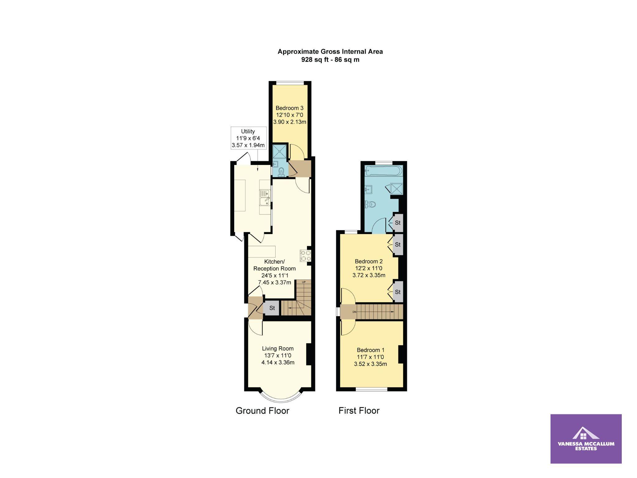 3 bedroom cottage house SSTC in Little Heath Potters Bar - Floorplan 1