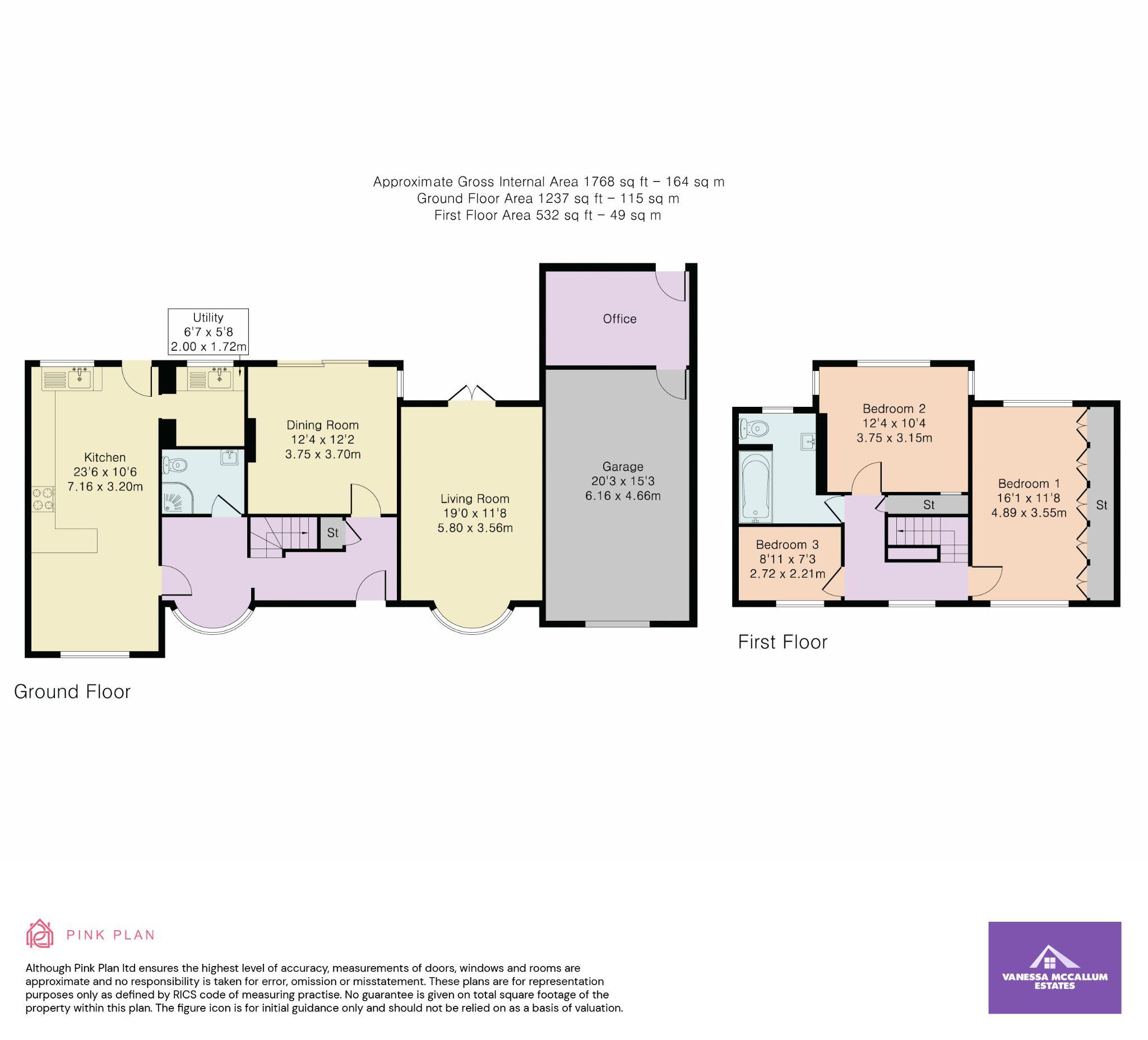 3 bedroom detached house Sale Agreed in Brookmans Park - Floorplan 1