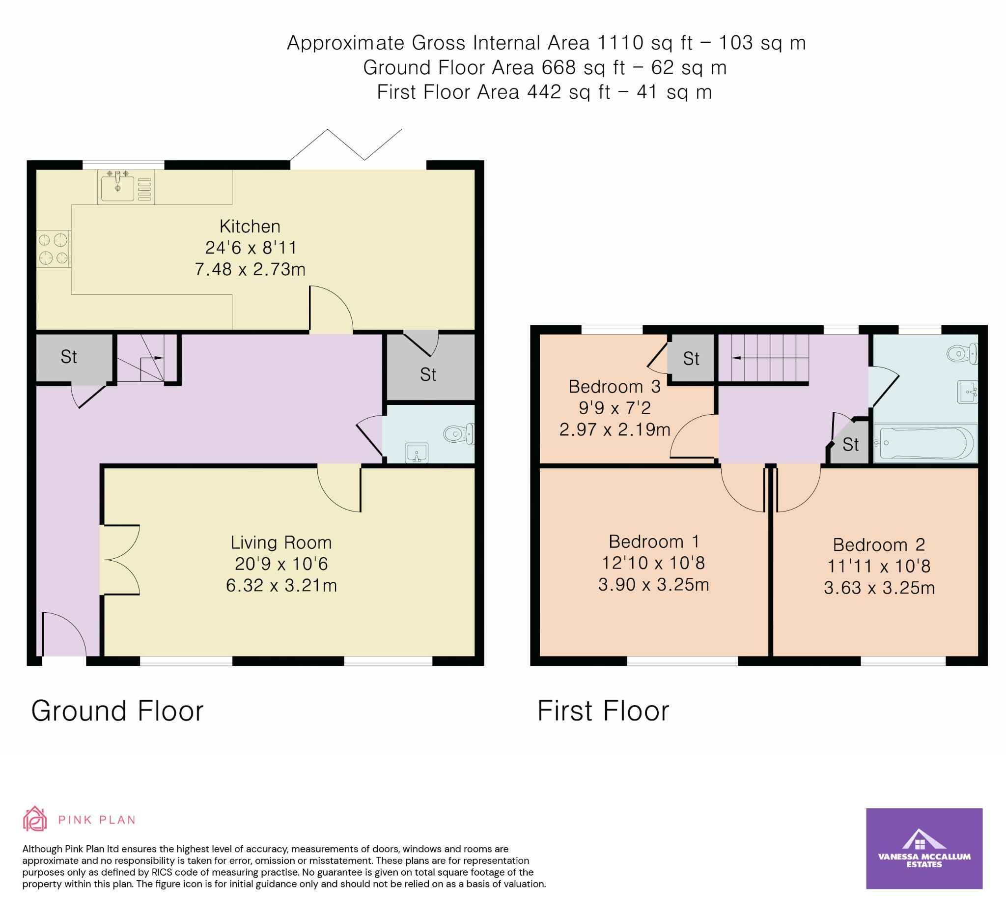 3 bedroom mid terraced house For Sale in Hatfield - Floorplan 1