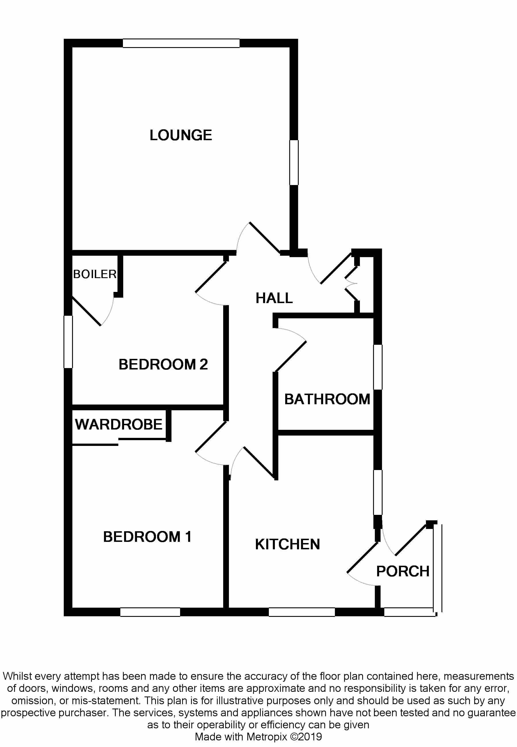 2 bedroom detached bungalow SSTC in Pensarn - Floorplan 1