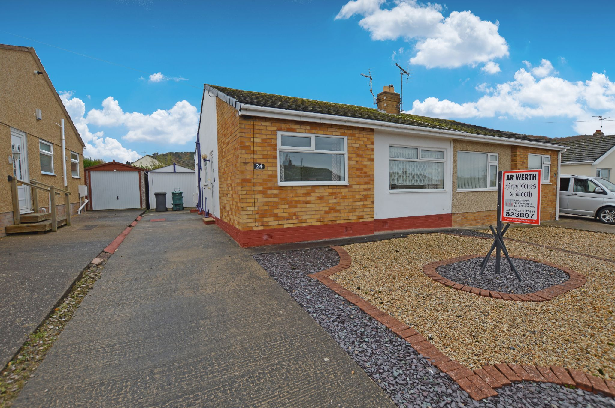 2 bedroom semi-detached bungalow For Sale in Abergele - Front Aspect
