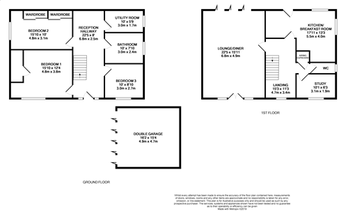 3 bedroom detached house For Sale in Dyserth - Floorplan 1