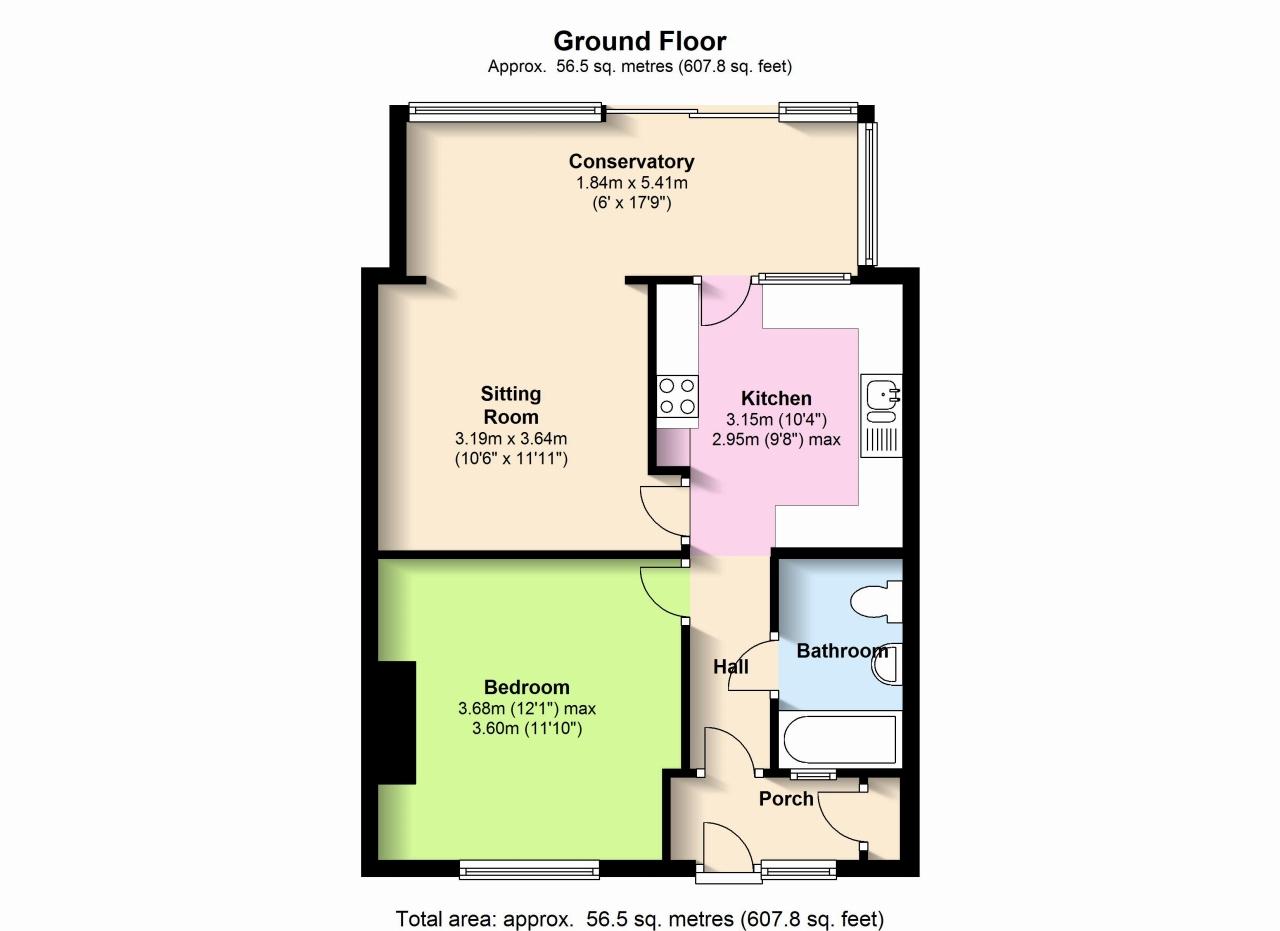 1 Bedroom Terraced Bungalow For Sale - Floorplan 1