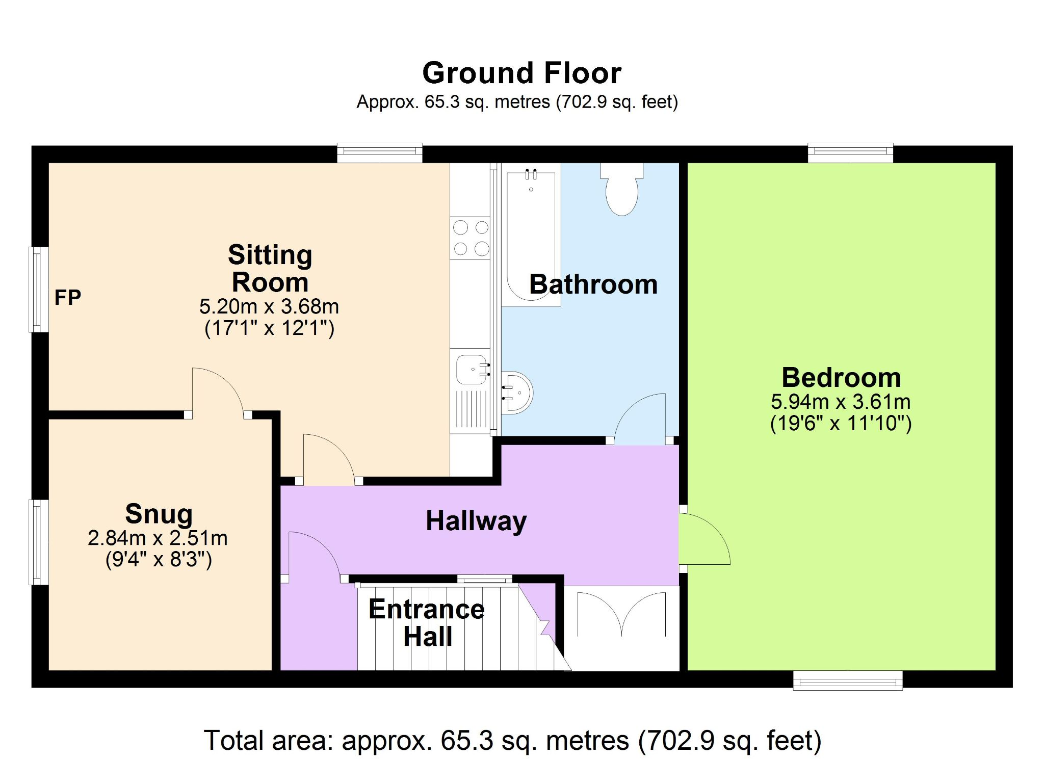 1 Bedroom Apartment Flat/apartment To Rent - Floorplan 1