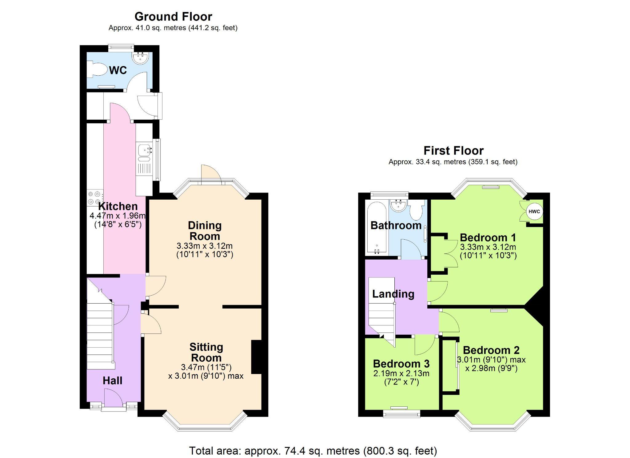 3 Bedroom Mid Terraced House For Sale - Floorplan 1