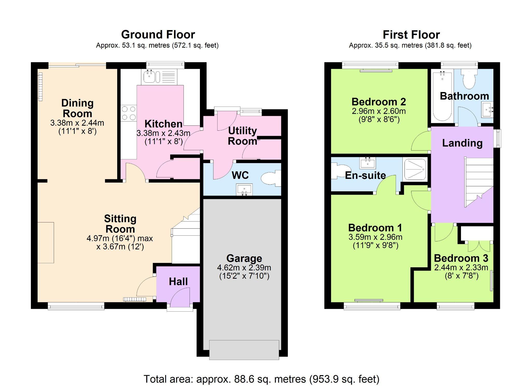 3 Bedroom Link Detached House For Sale - Floorplan 1
