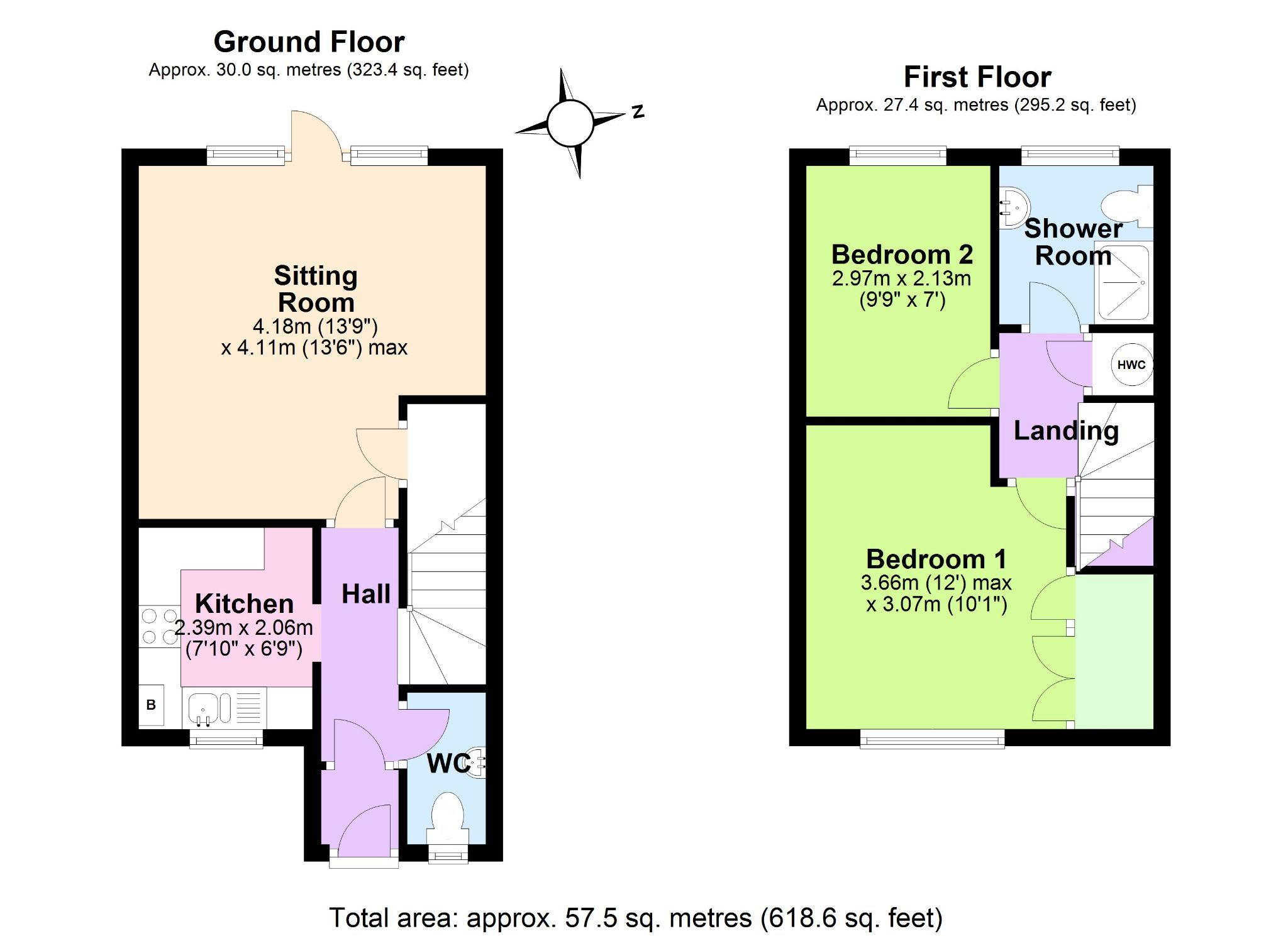 2 Bedroom End Terraced House For Sale - Floorplan 1
