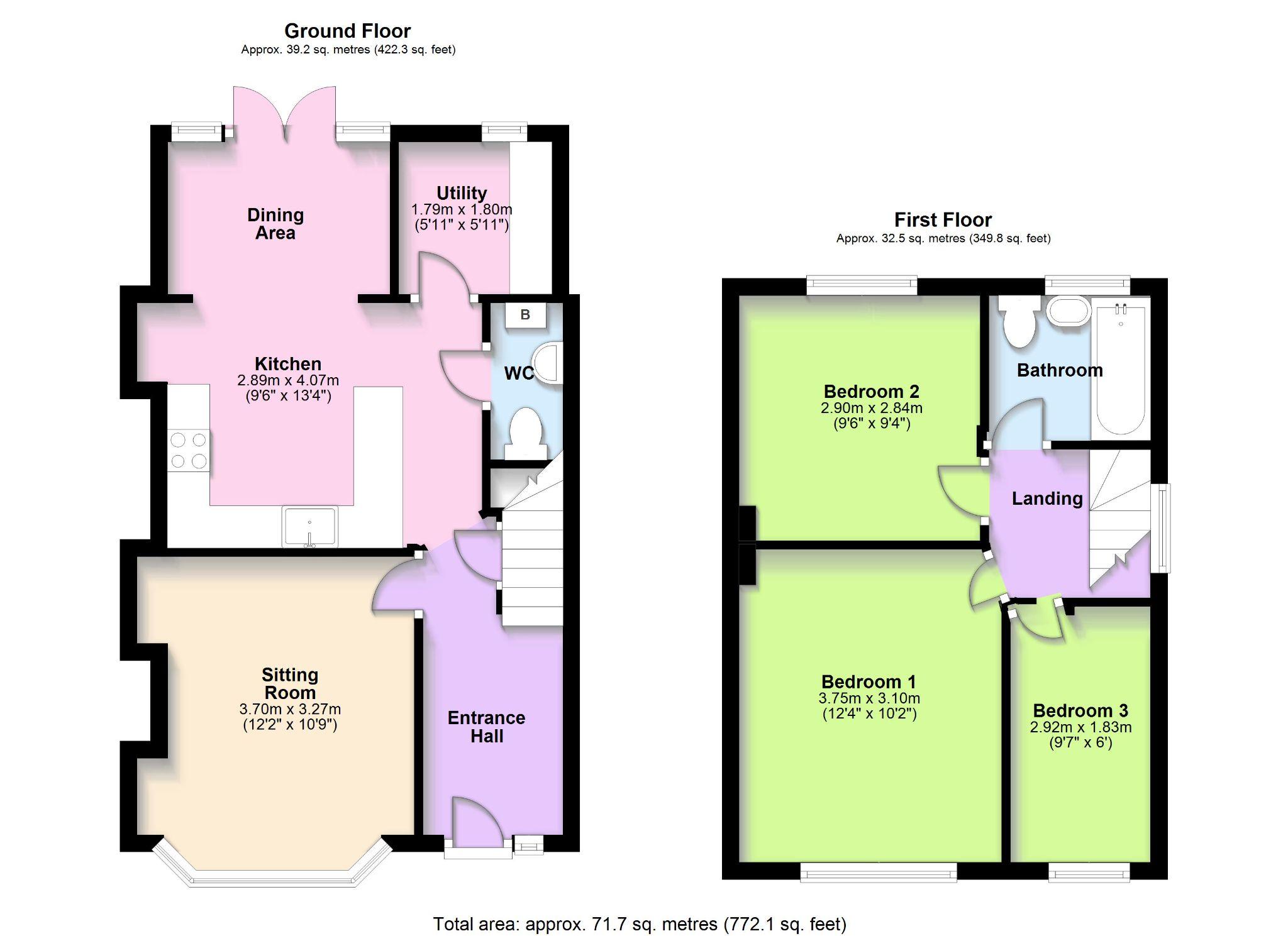 3 Bedroom Semi-detached House To Rent - Floorplan 1