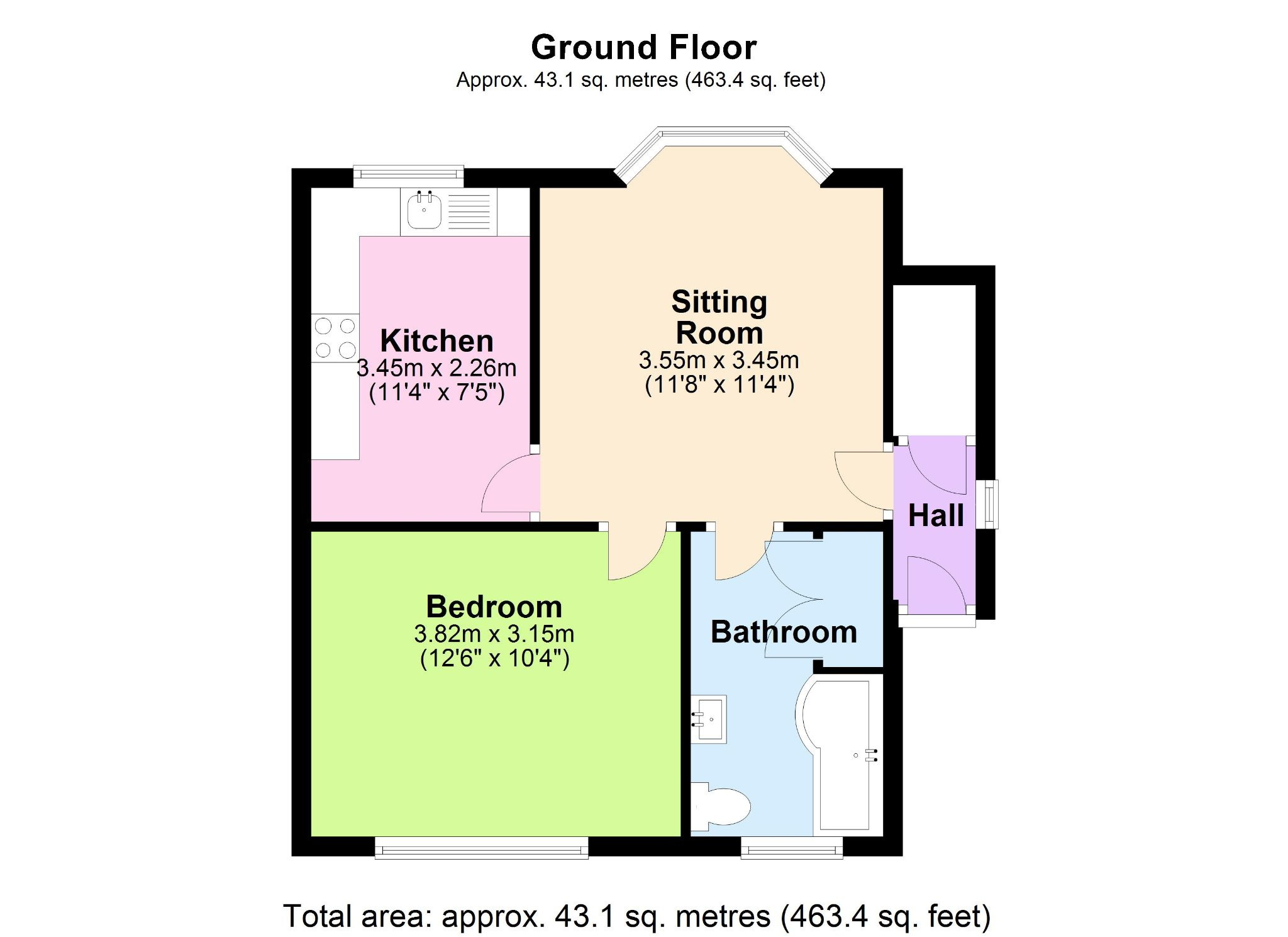 1 Bedroom Apartment Flat/apartment To Rent - Floorplan 1